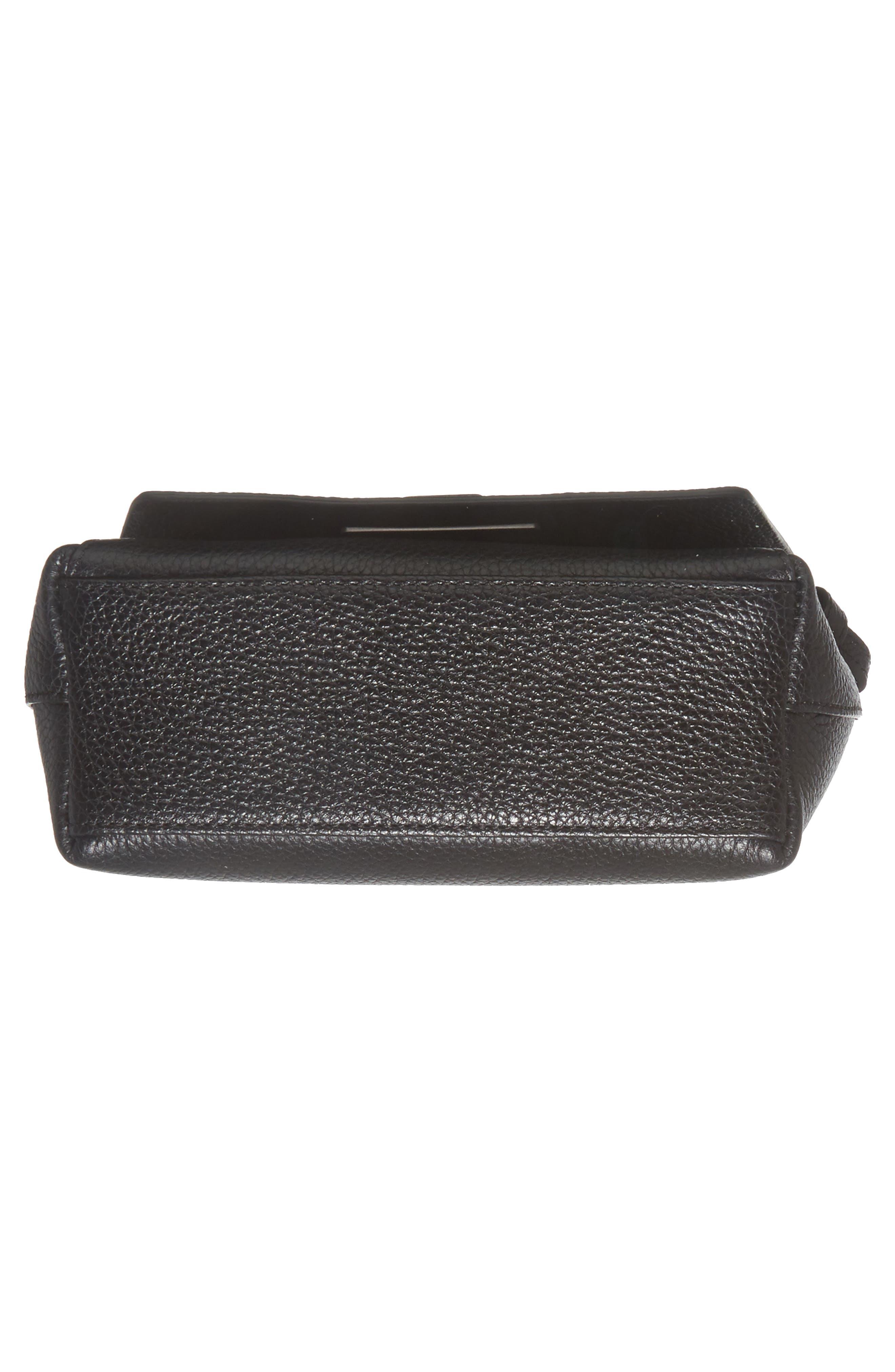 Little Anouk Leather Crossbody Bag,                             Alternate thumbnail 6, color,                             009 BLACK