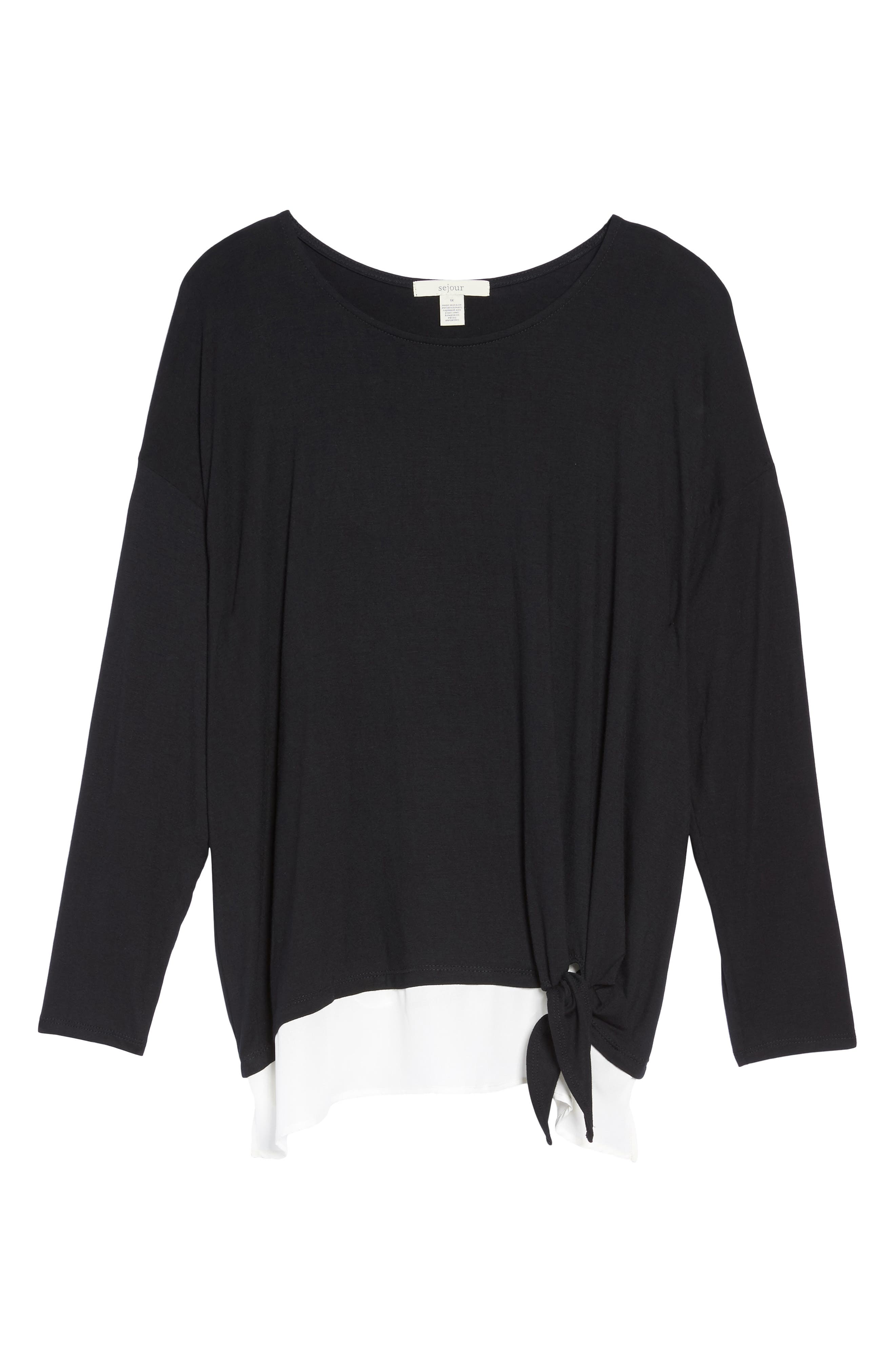 Layered Look Tie Hem Top,                             Alternate thumbnail 6, color,                             001