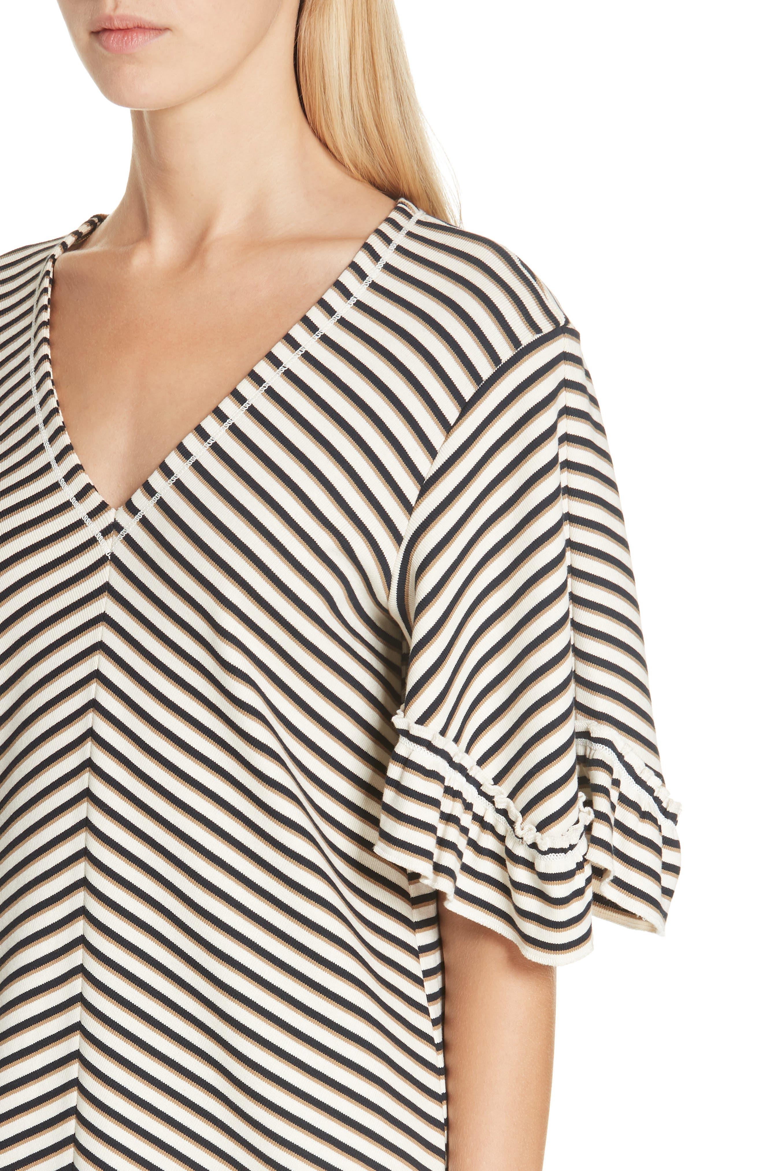 Stripe Ruffle Sleeve Shift Dress,                             Alternate thumbnail 4, color,                             WHITE - BEIGE 1