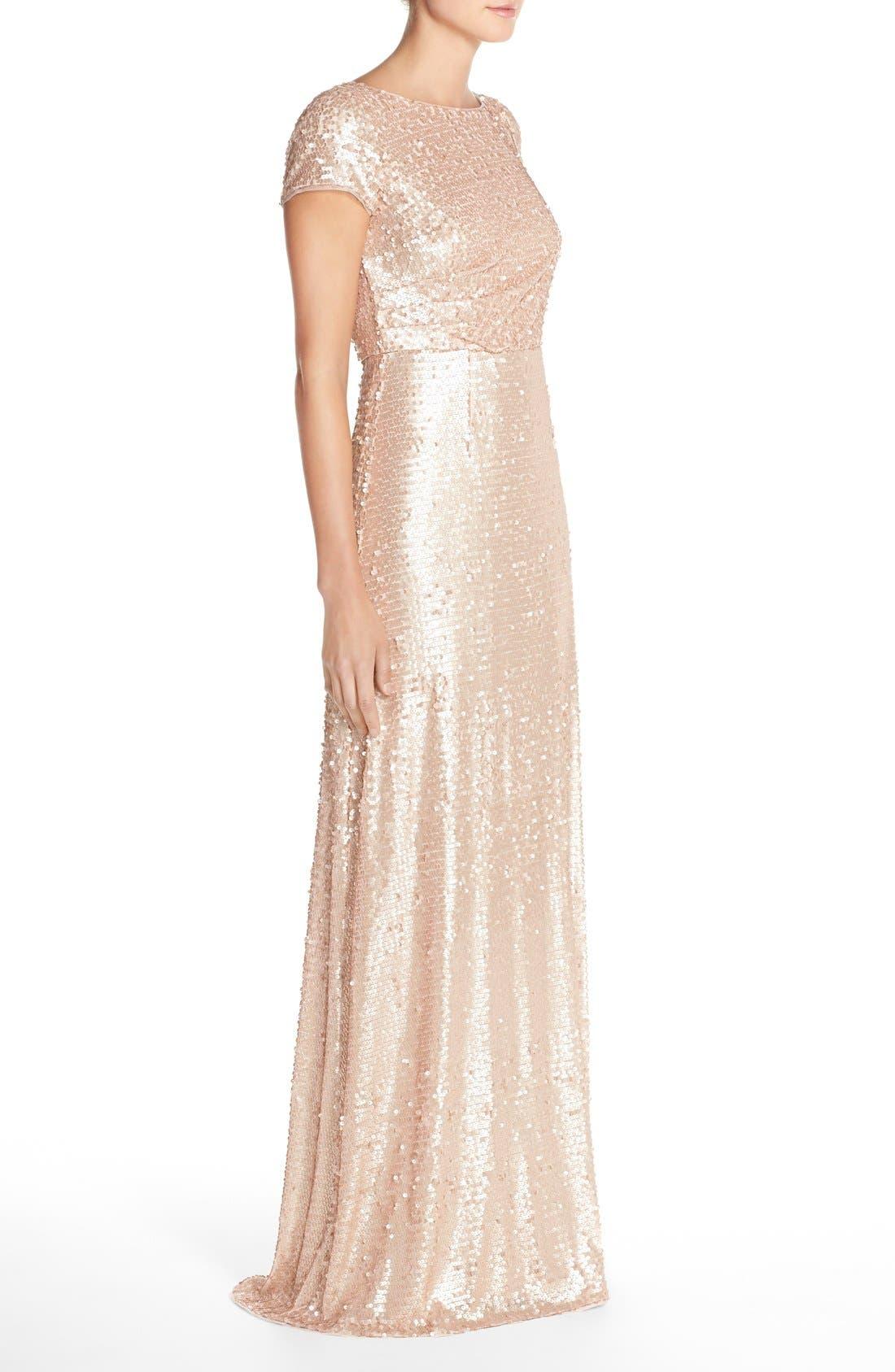 Sequin Mesh A-Line Gown,                             Alternate thumbnail 3, color,                             221