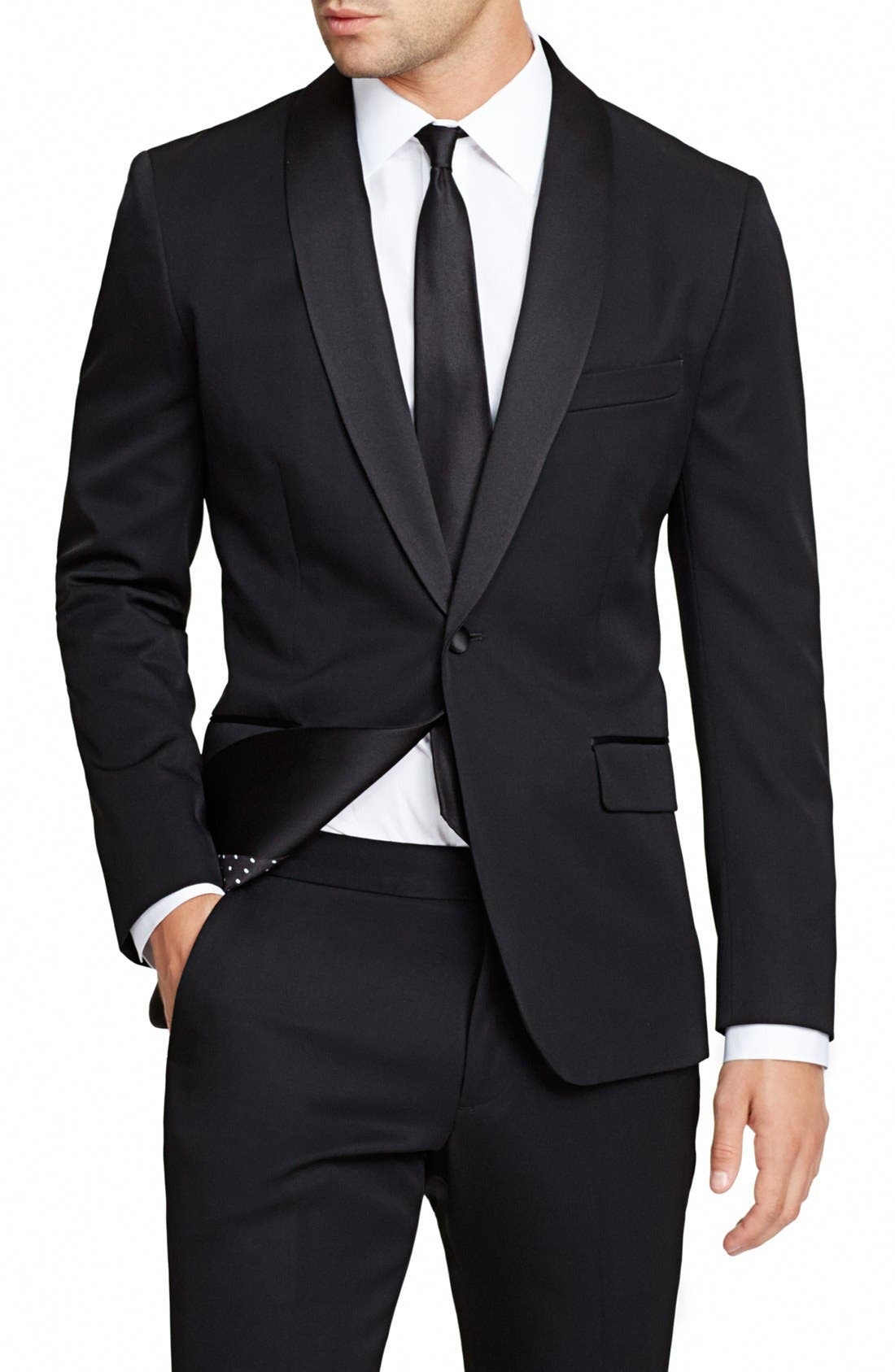 Trim Fit Wool Dinner Jacket,                             Alternate thumbnail 3, color,                             BLACK