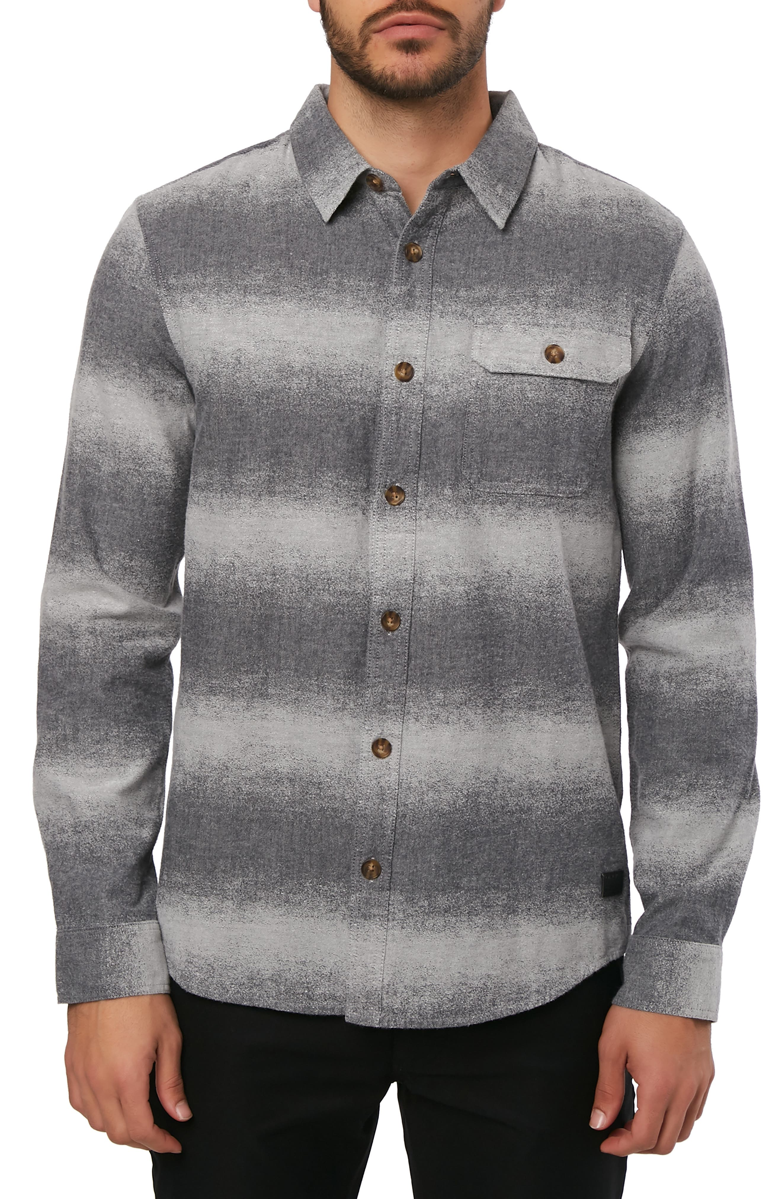 Blurred Flannel Shirt,                         Main,                         color, HEATHER GREY