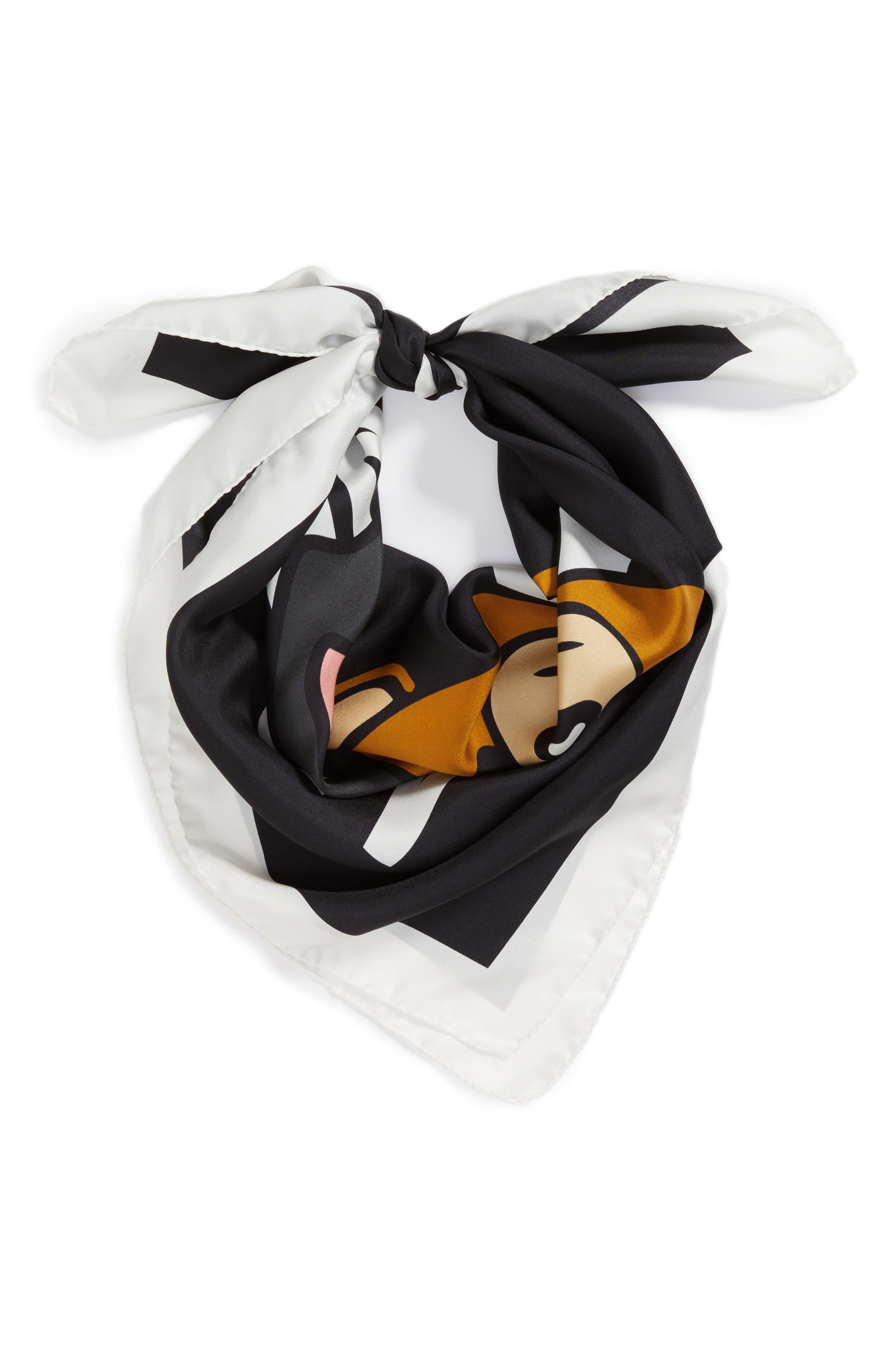 Playboy Bear Silk Scarf,                         Main,                         color, 001