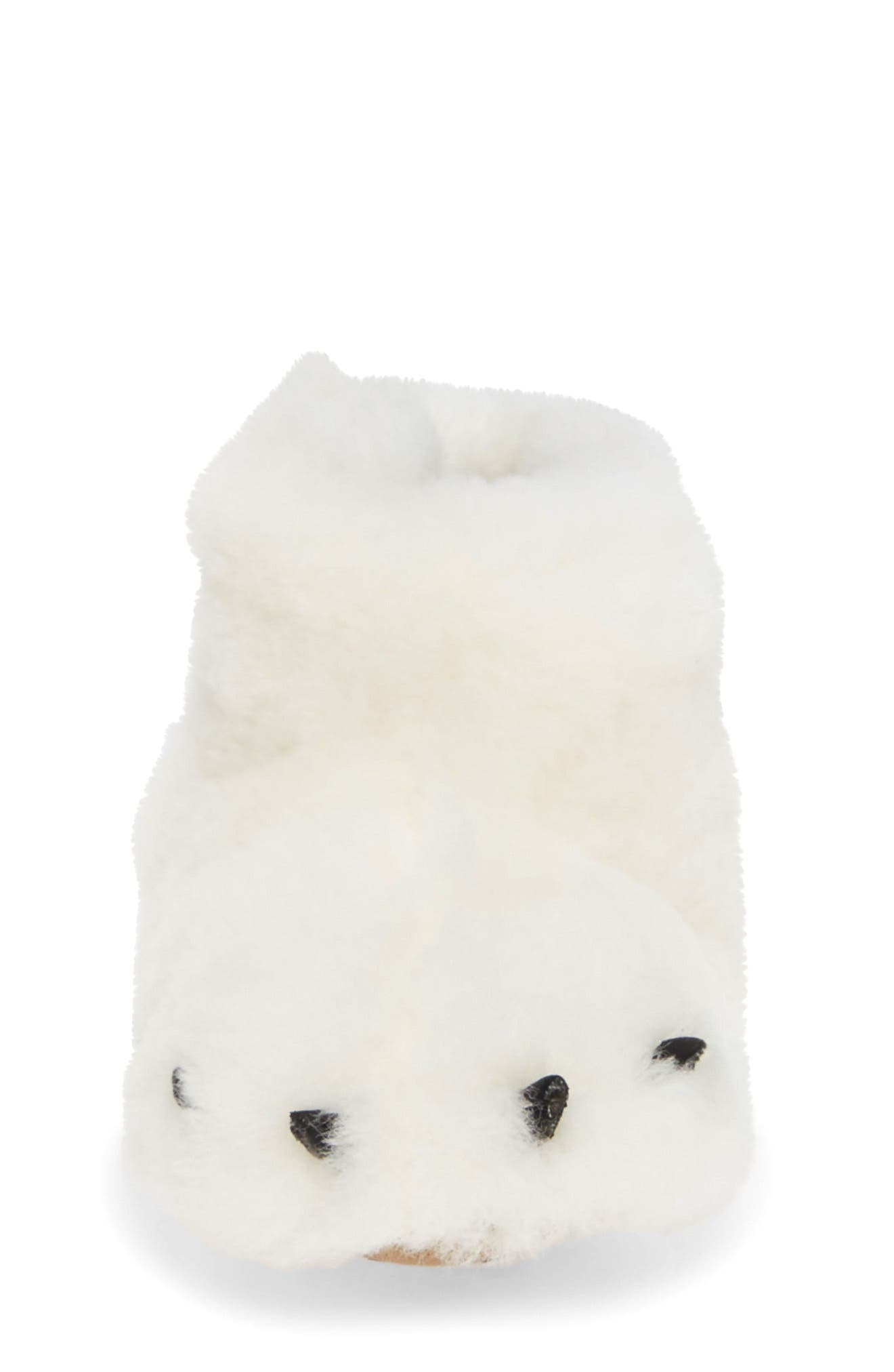 Genuine Shearling Bear Paw Slipper,                             Alternate thumbnail 4, color,                             SEA SALT/ BEACH