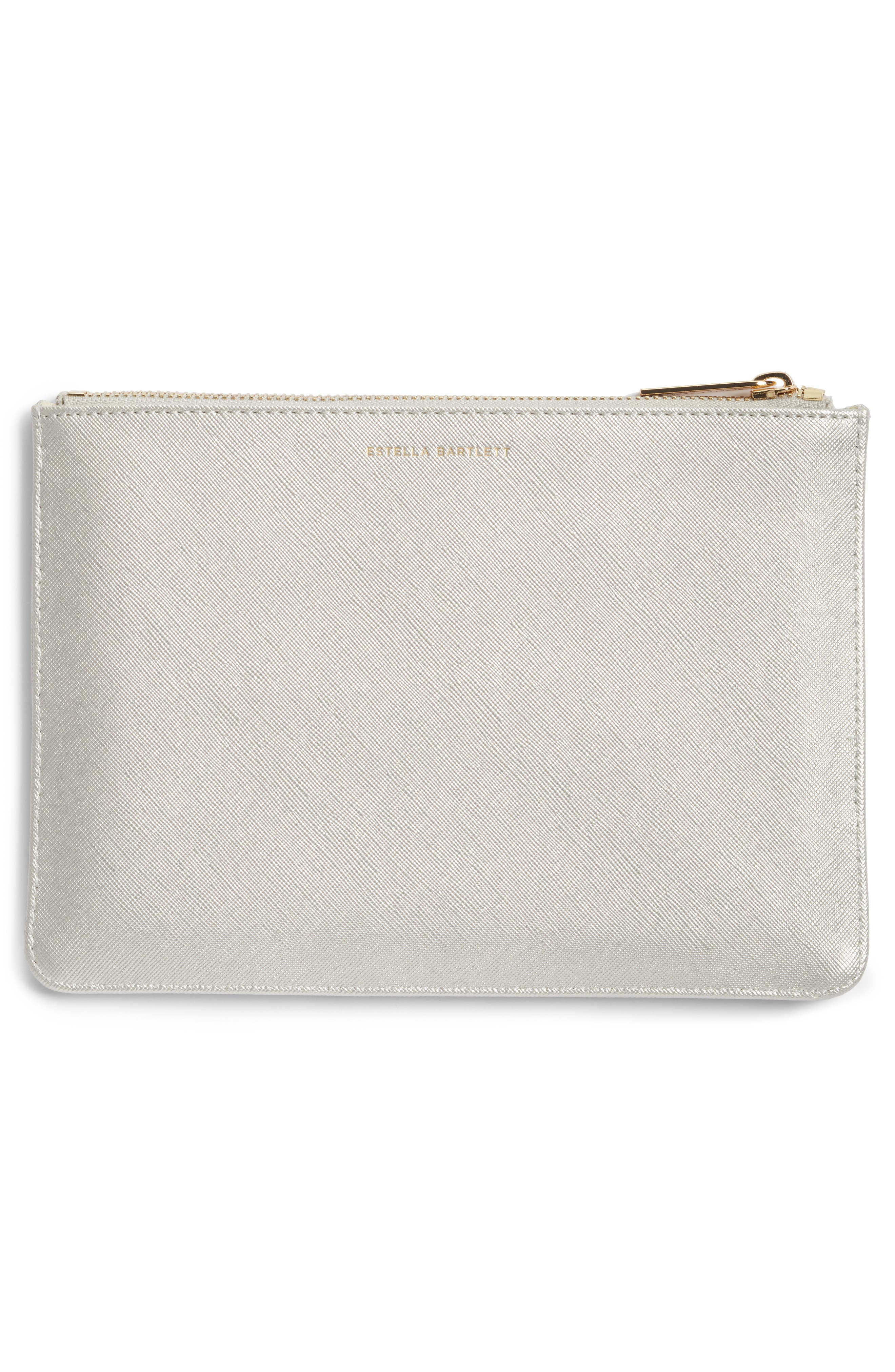 ESTELLA BARTLETT,                             Medium Zip Pouch,                             Alternate thumbnail 3, color,                             SILVER - BELIEVE
