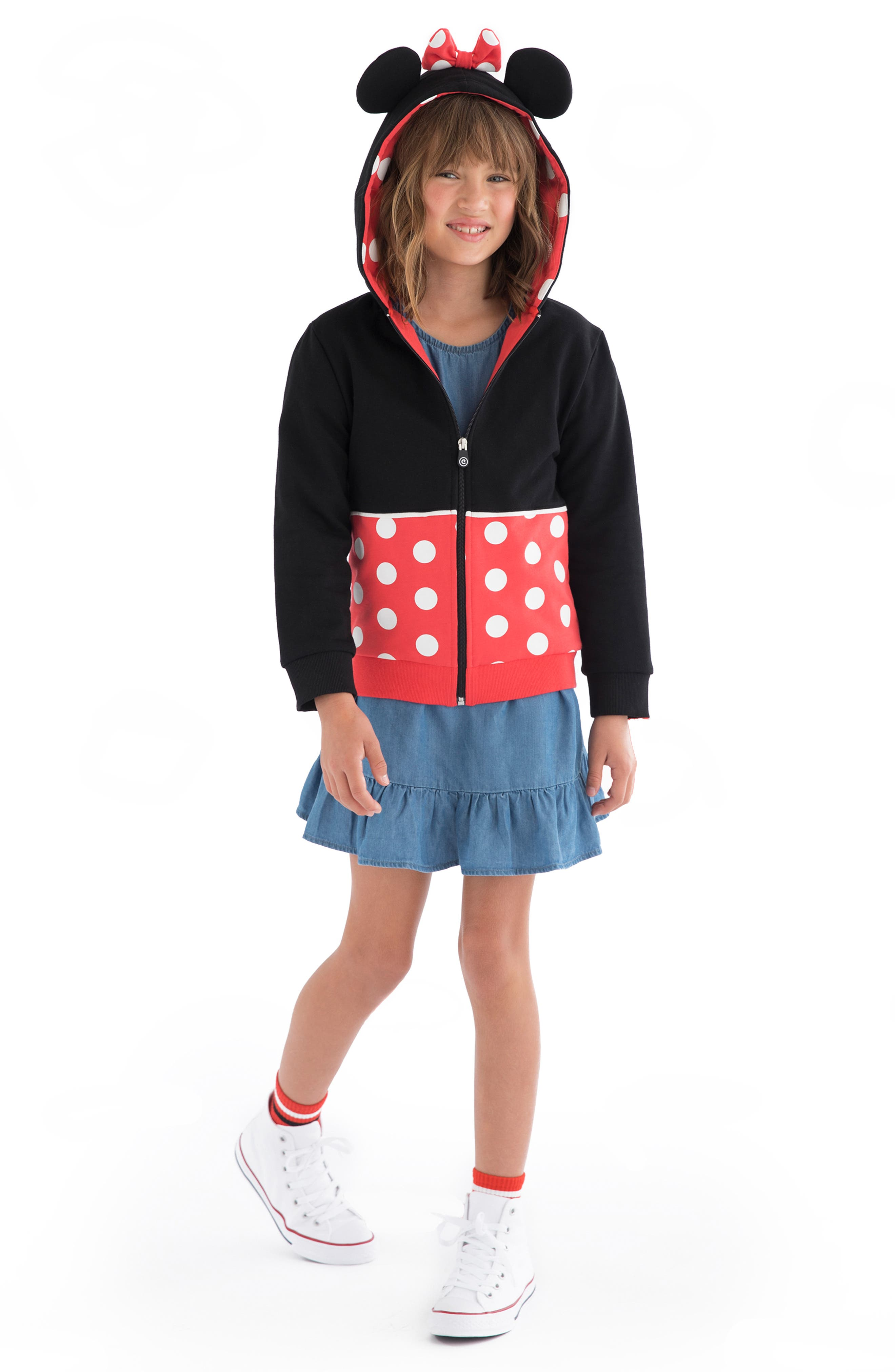 Disney Minnie Mouse 2-in-1 Stuffed Animal Hoodie,                             Alternate thumbnail 2, color,                             BLACK / RED MIX