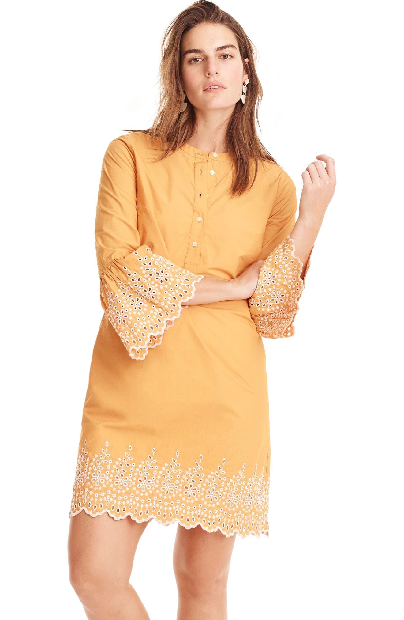Eyelet Bell Sleeve Dress,                             Alternate thumbnail 6, color,