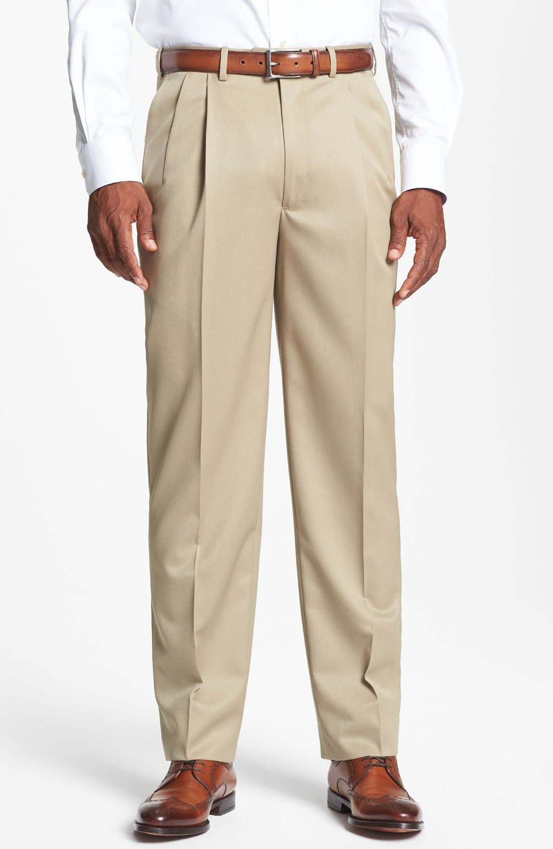 Pleated Super 100s Worsted Wool Trousers,                             Main thumbnail 9, color,