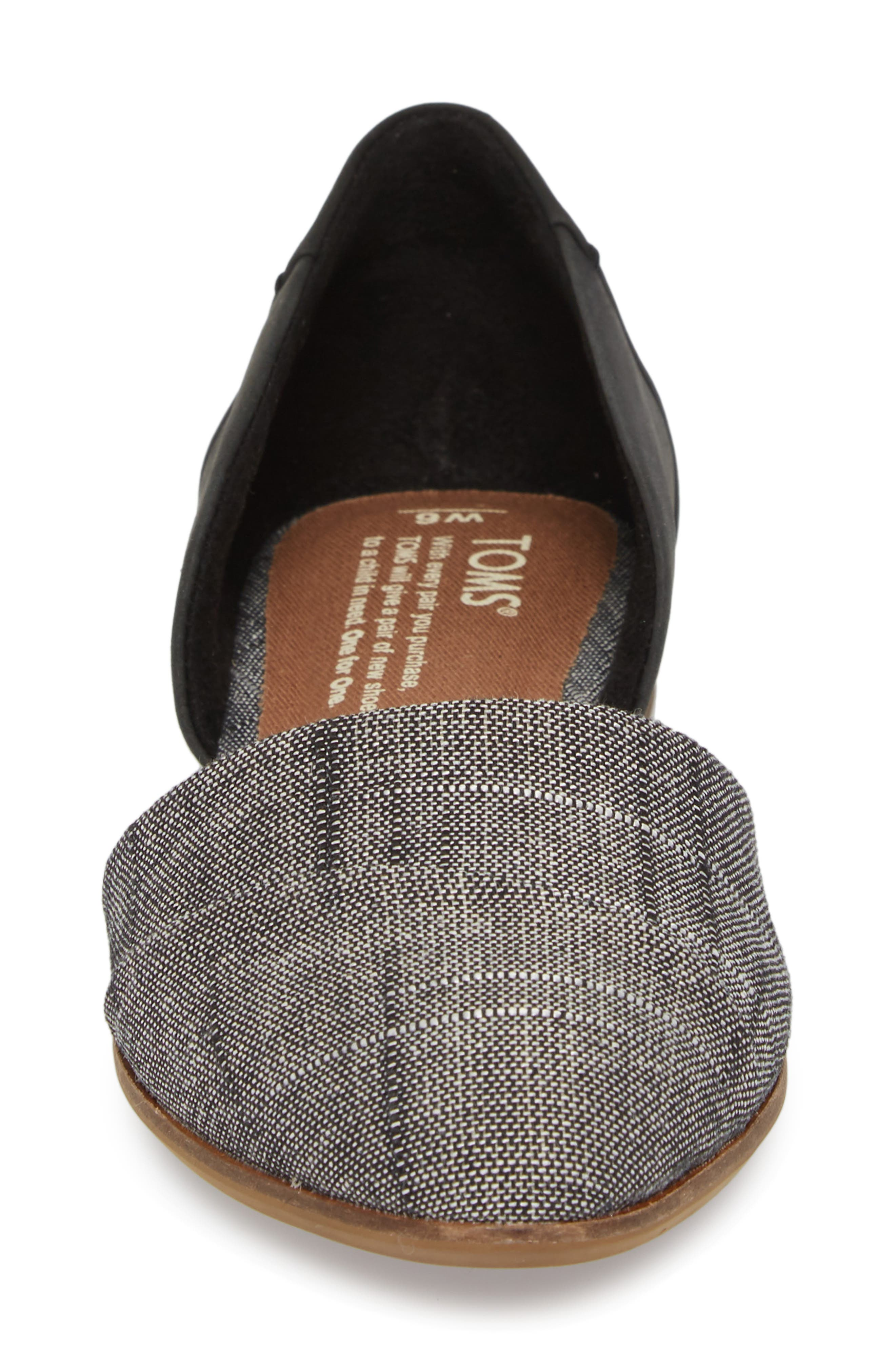 Jutti d'Orsay Flat,                             Alternate thumbnail 4, color,                             BLACK LEATHER/ CHAMBRAY