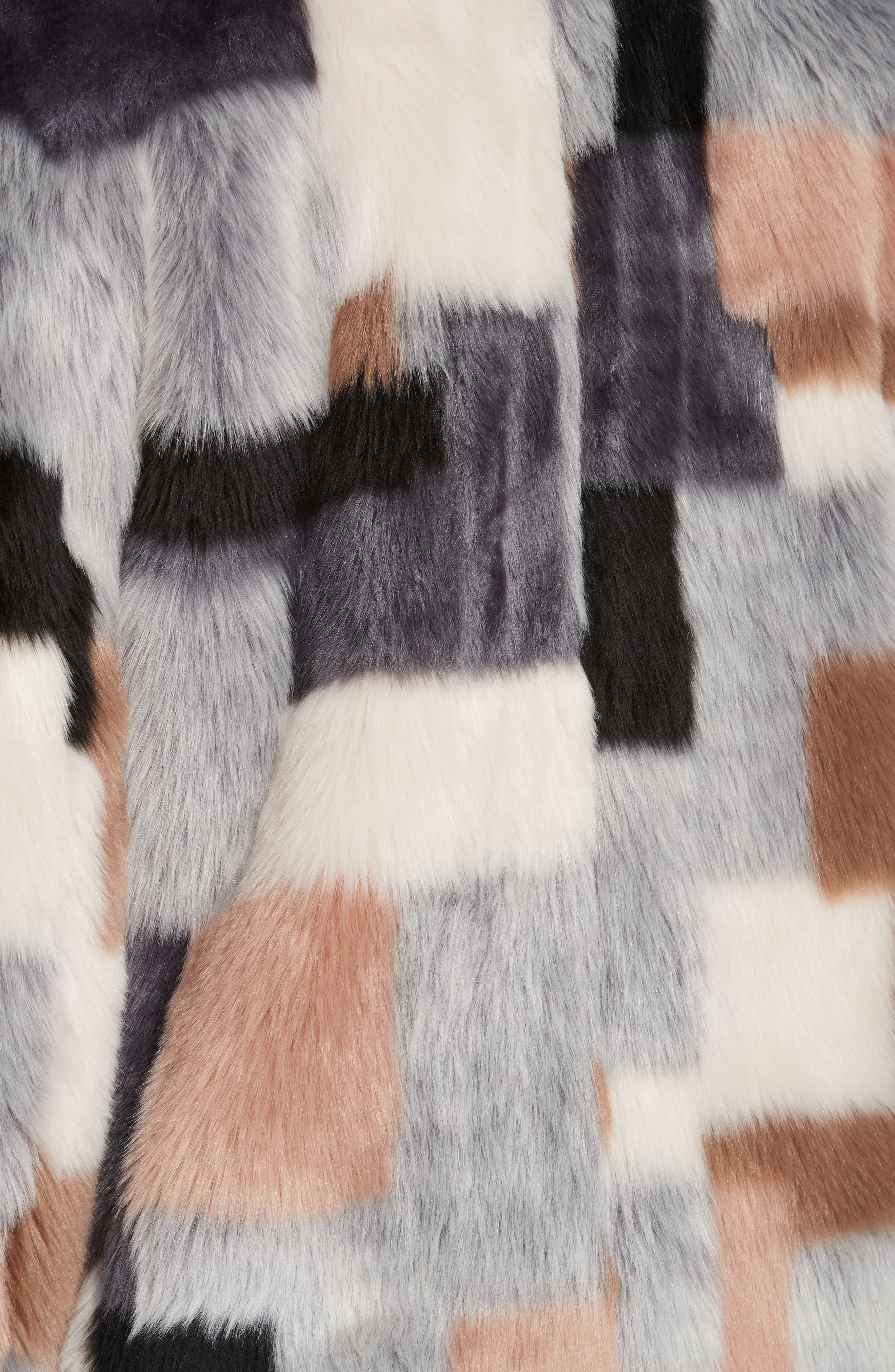 LA VIE REBECCA TAYLOR,                             Patched Faux Fur Jacket,                             Alternate thumbnail 6, color,                             400