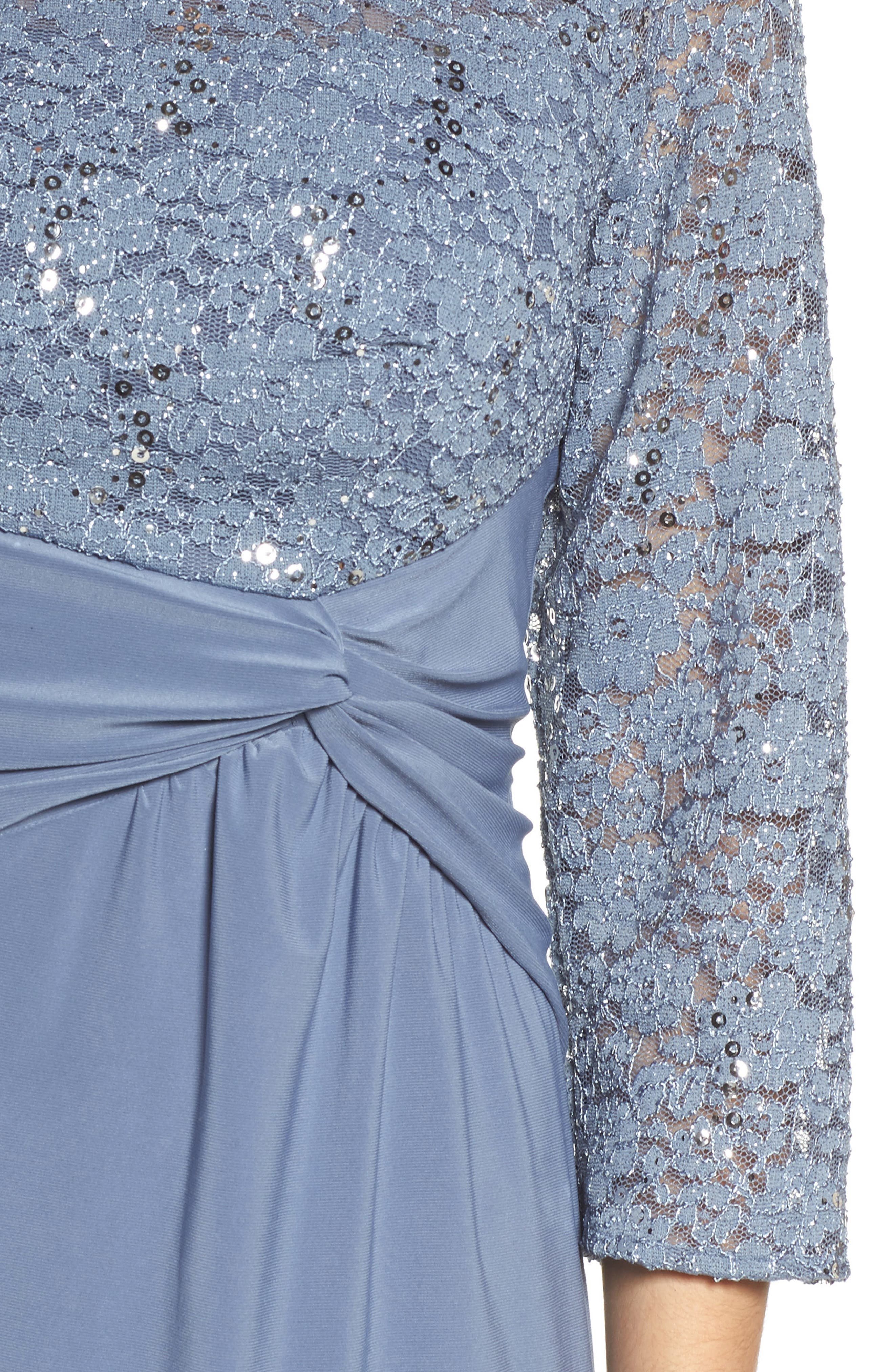 Knot Front Mixed Media Sheath Dress,                             Alternate thumbnail 4, color,