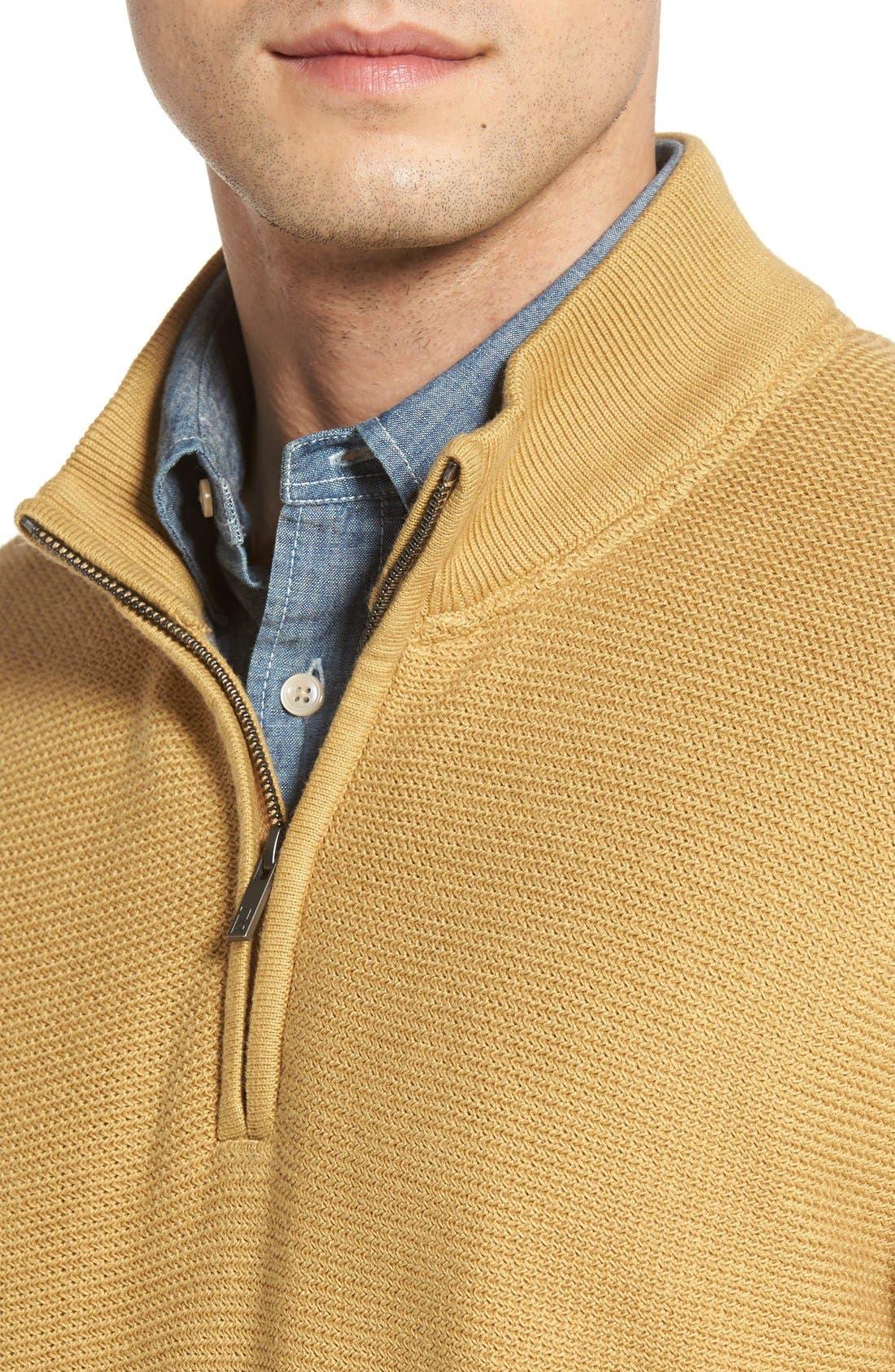 'Benson' Quarter Zip Textured Knit Sweater,                             Alternate thumbnail 9, color,