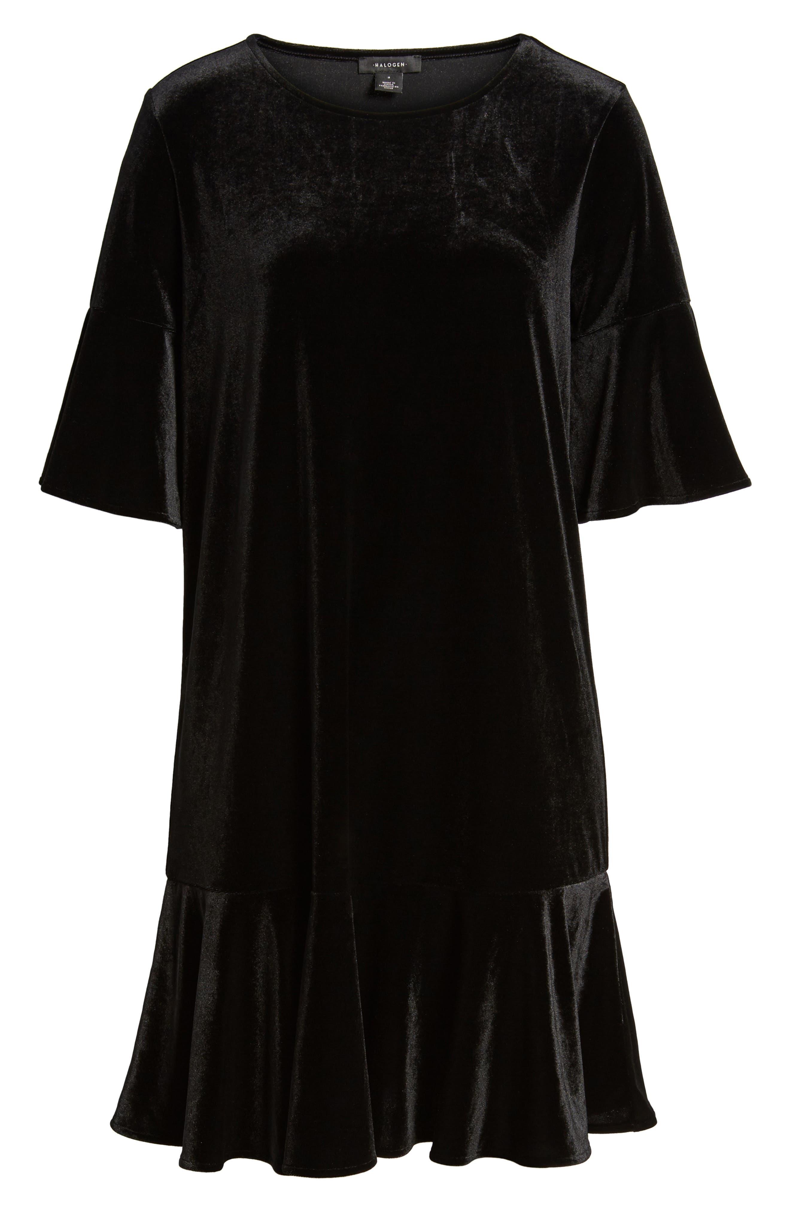 Ruffle Trim Velvet Dress,                             Alternate thumbnail 8, color,                             BLACK