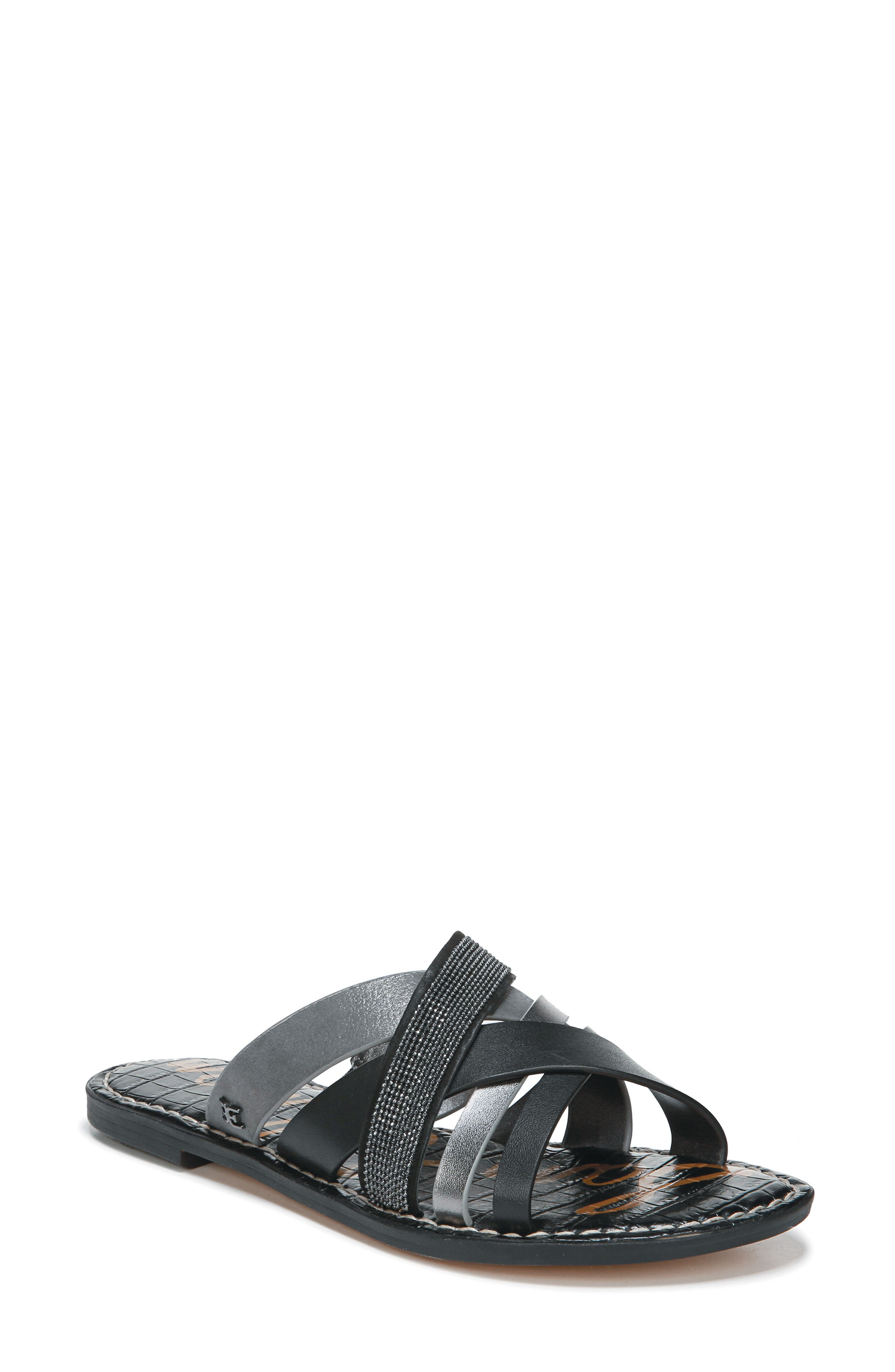 Glennia Slide Sandal, Main, color, DARK PEWTER/ BLACK LEATHER