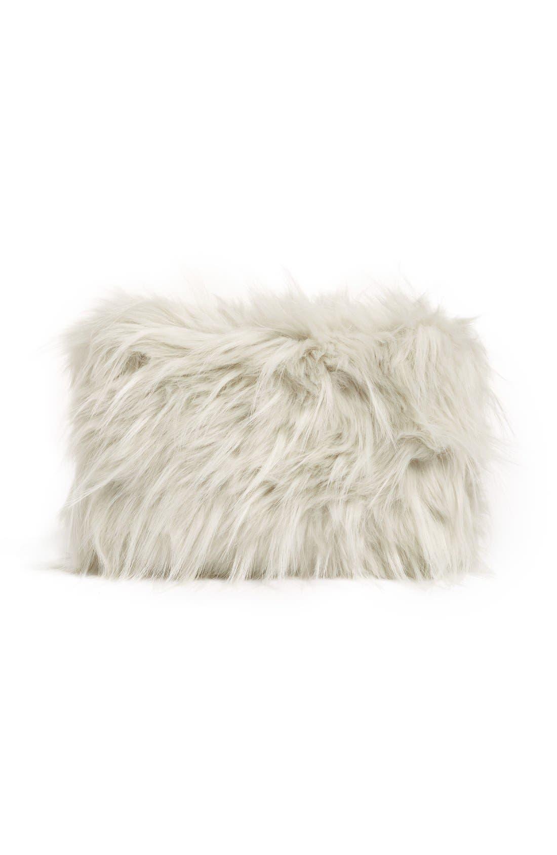 Cuddle Up Faux Fur Pouch,                             Alternate thumbnail 3, color,                             030
