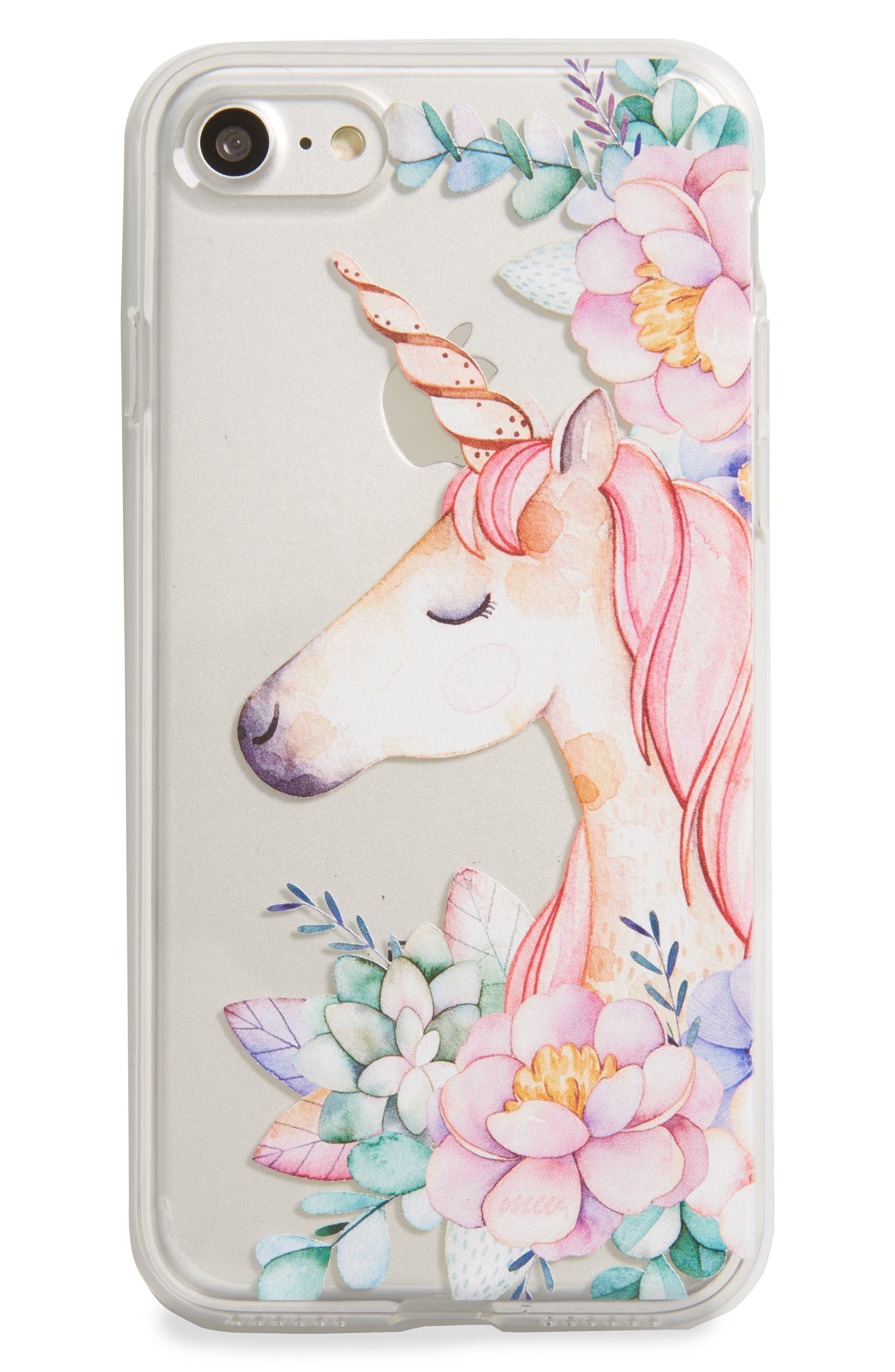 Unicorn & Flowers iPhone 7 Case,                         Main,                         color, 650