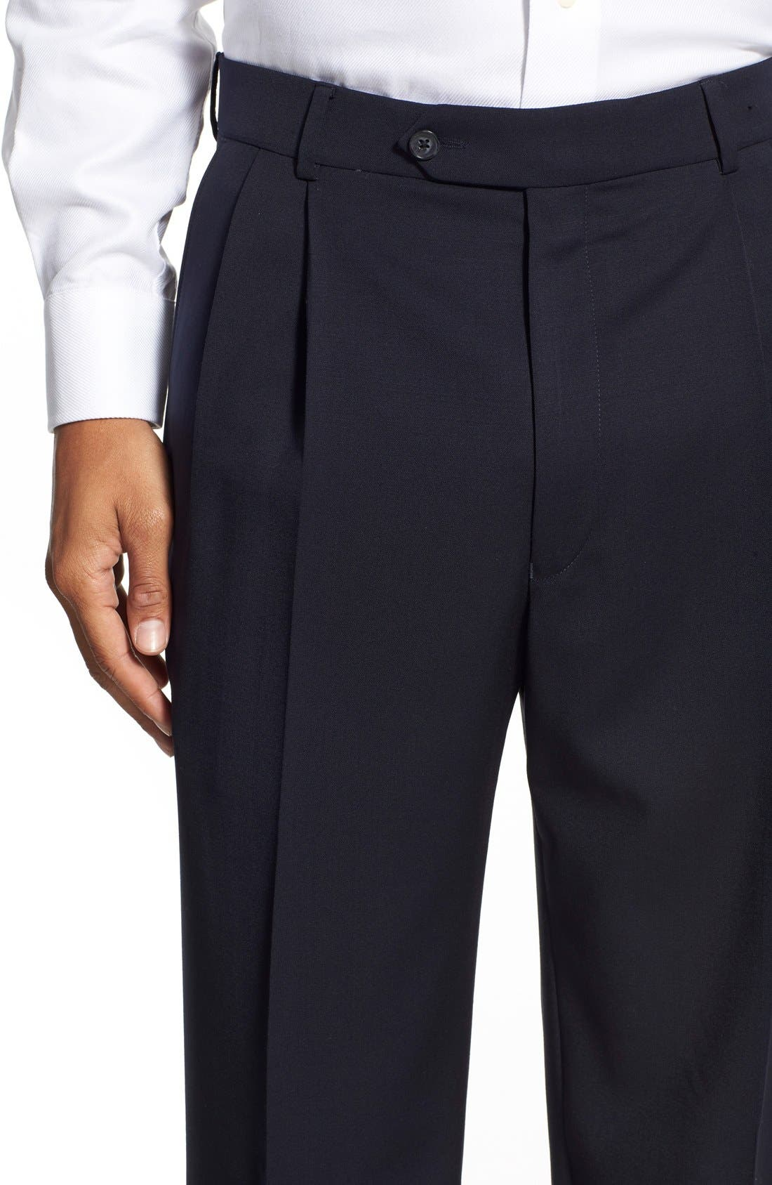 Pleated Solid Wool Trousers,                             Alternate thumbnail 51, color,
