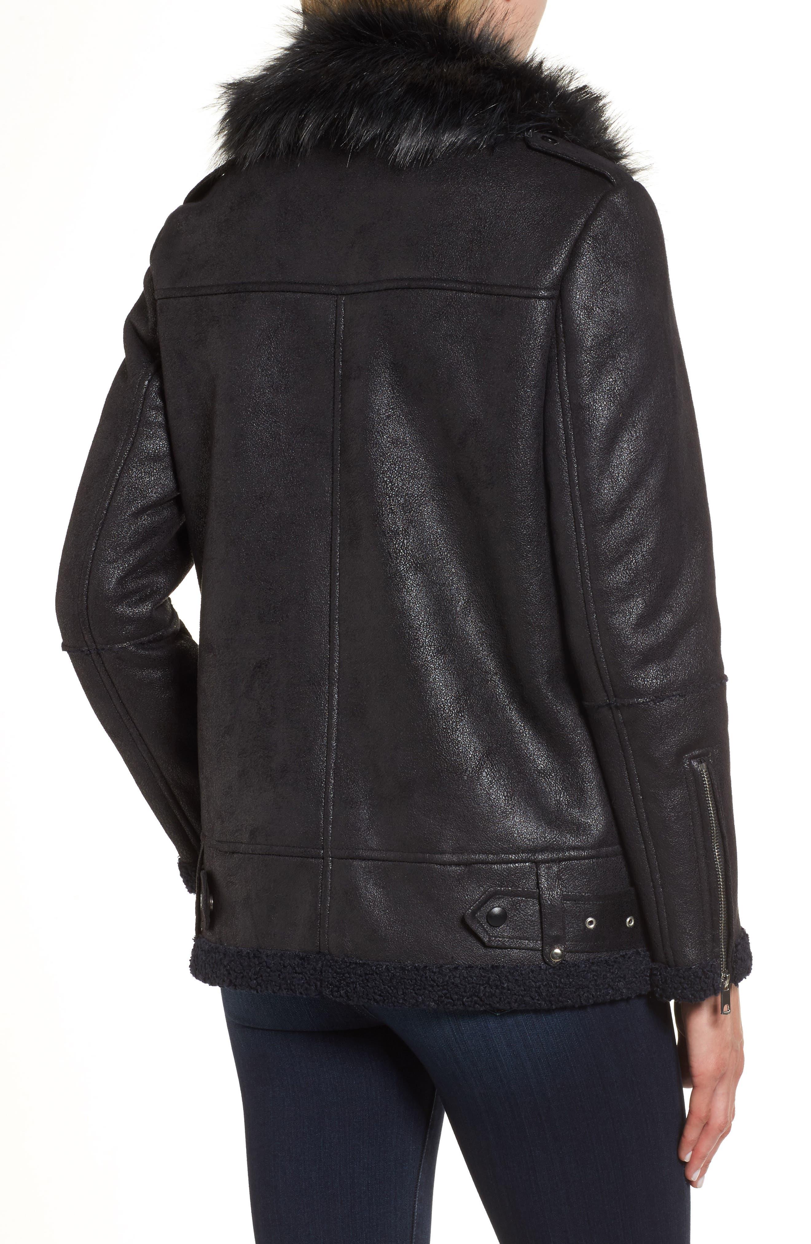 Faux Suede Moto Jacket with Faux Fur Collar,                             Alternate thumbnail 2, color,                             460