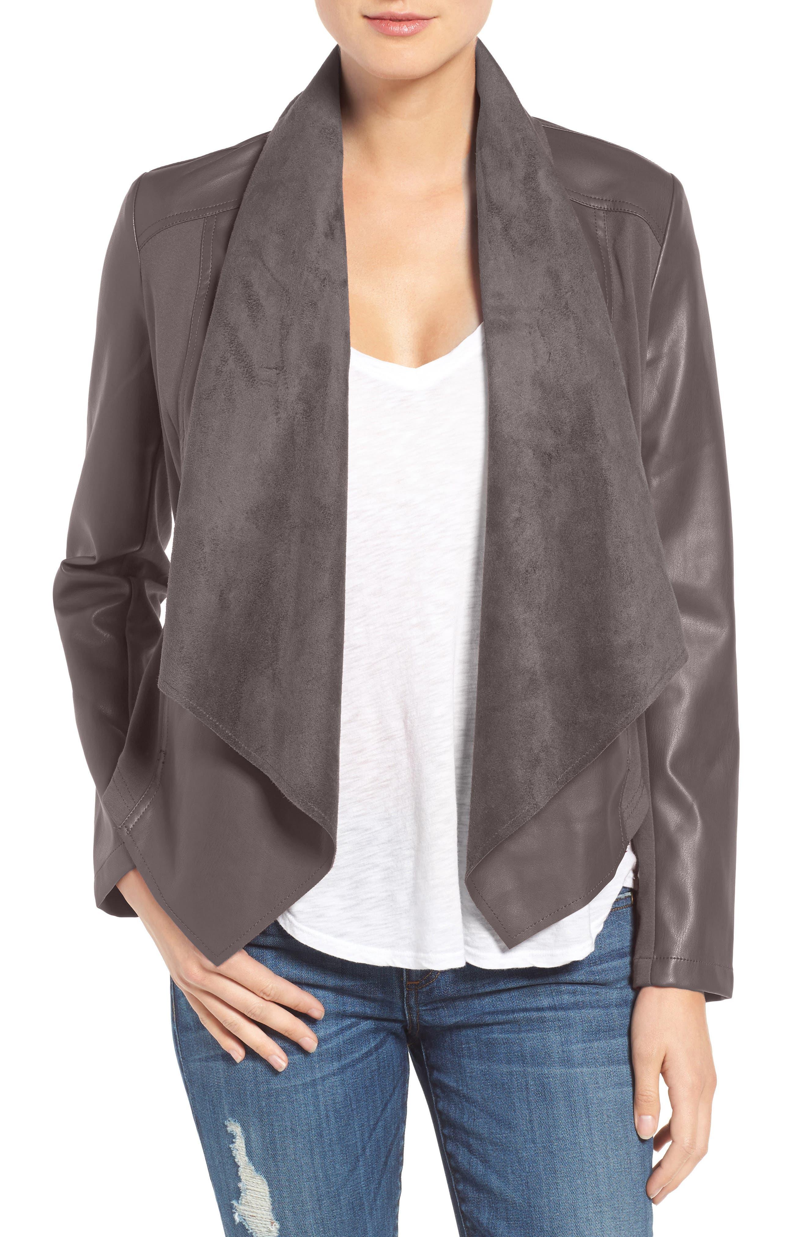 'Ana' Faux Leather Drape Front Jacket,                             Main thumbnail 2, color,