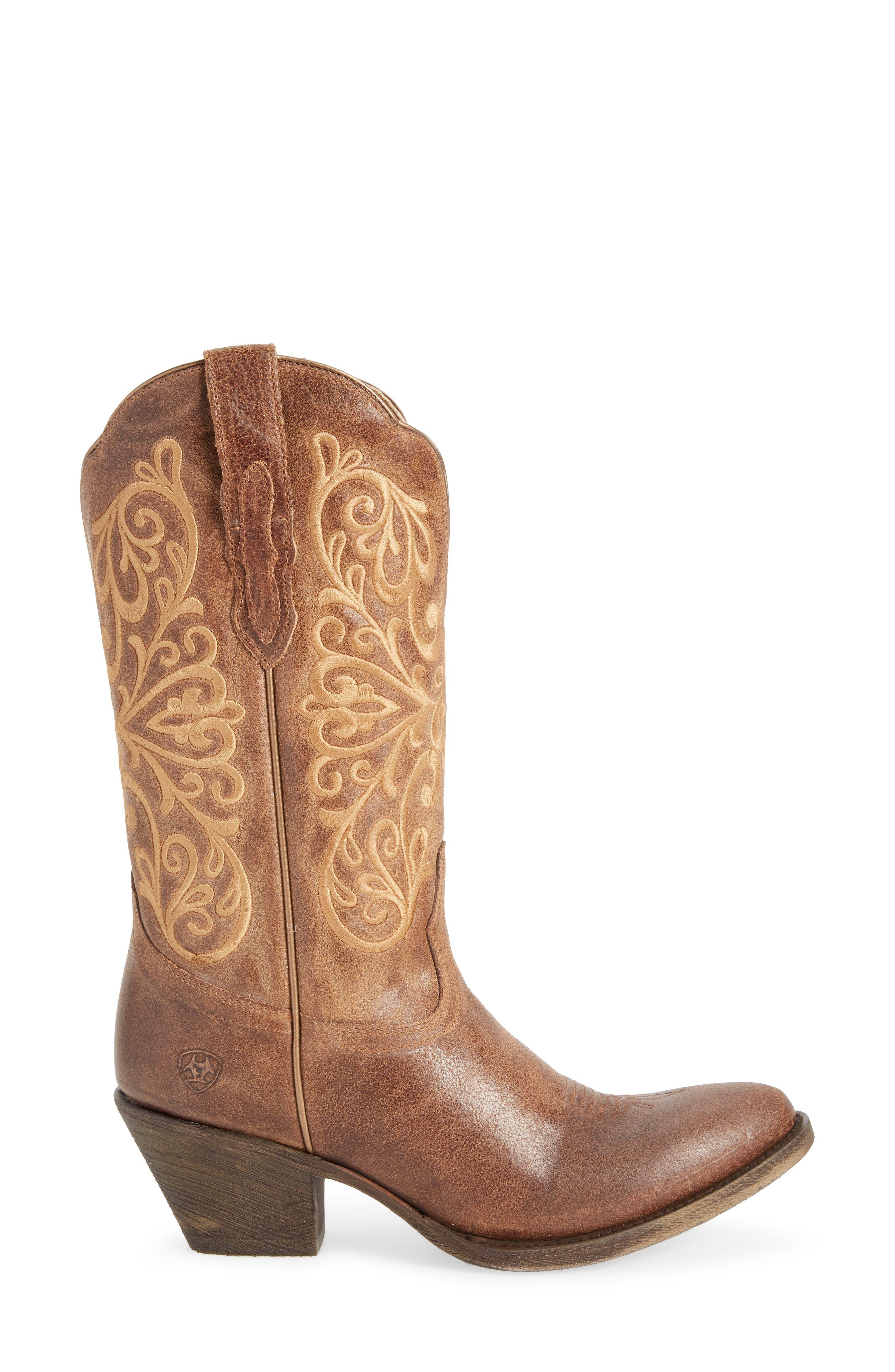 Terra Bella Western Boot,                             Alternate thumbnail 3, color,                             TURNBACK TAN LEATHER