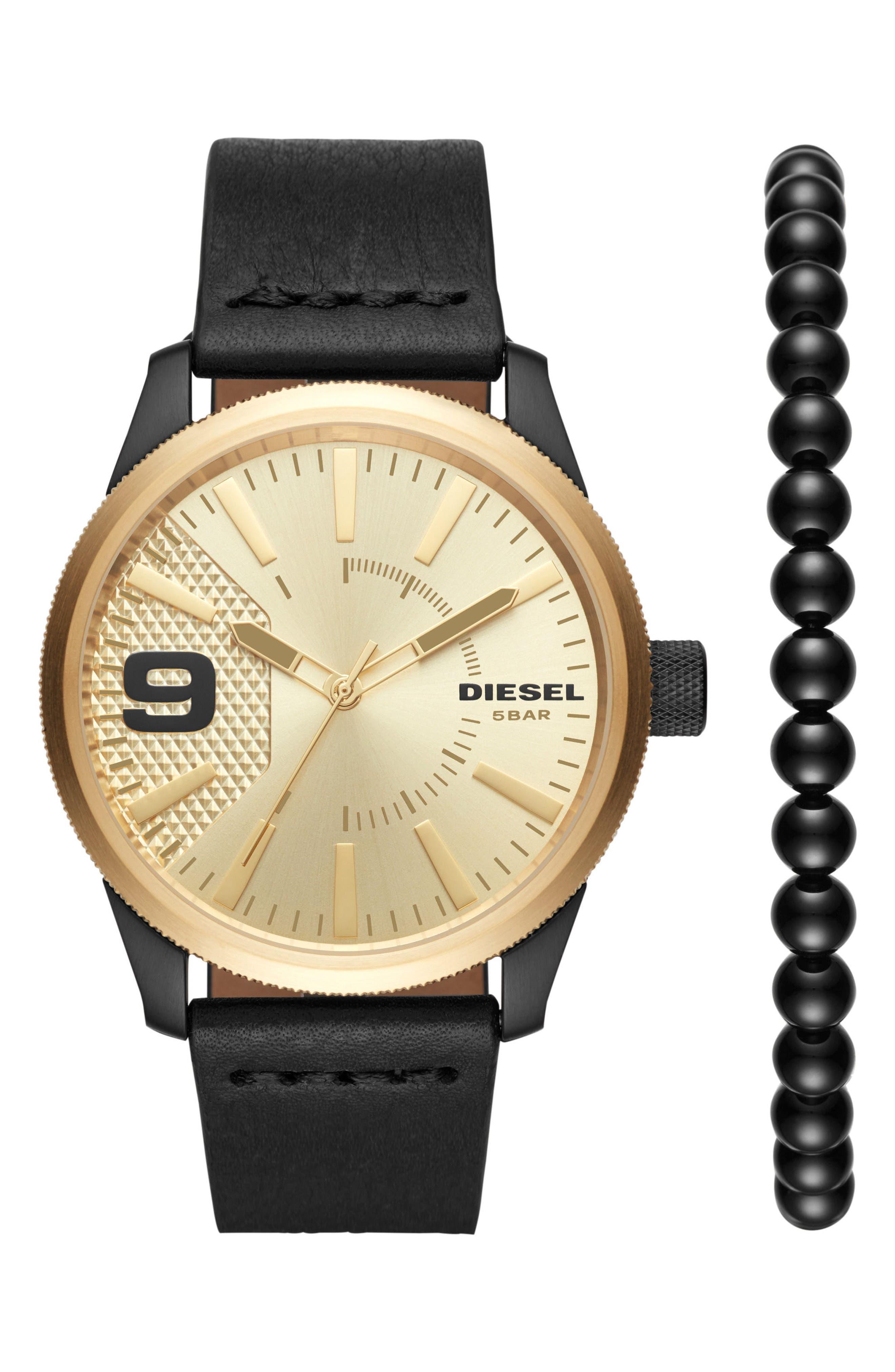 Rasp Leather Strap Watch & Bracelet Set, 46mm x 53mm,                             Main thumbnail 1, color,                             001