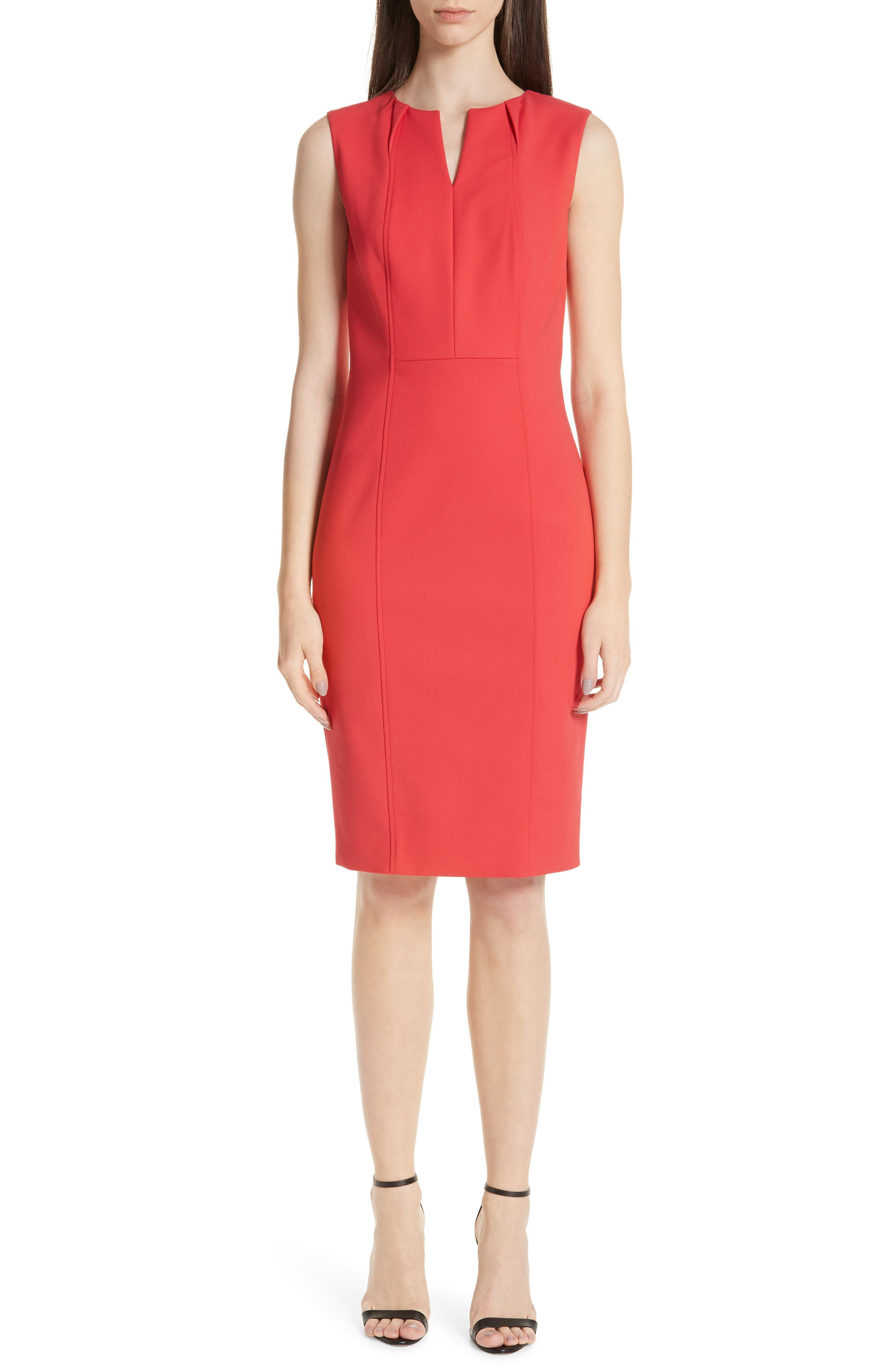 St. John Collection Stretch Double Weave Dress, Red
