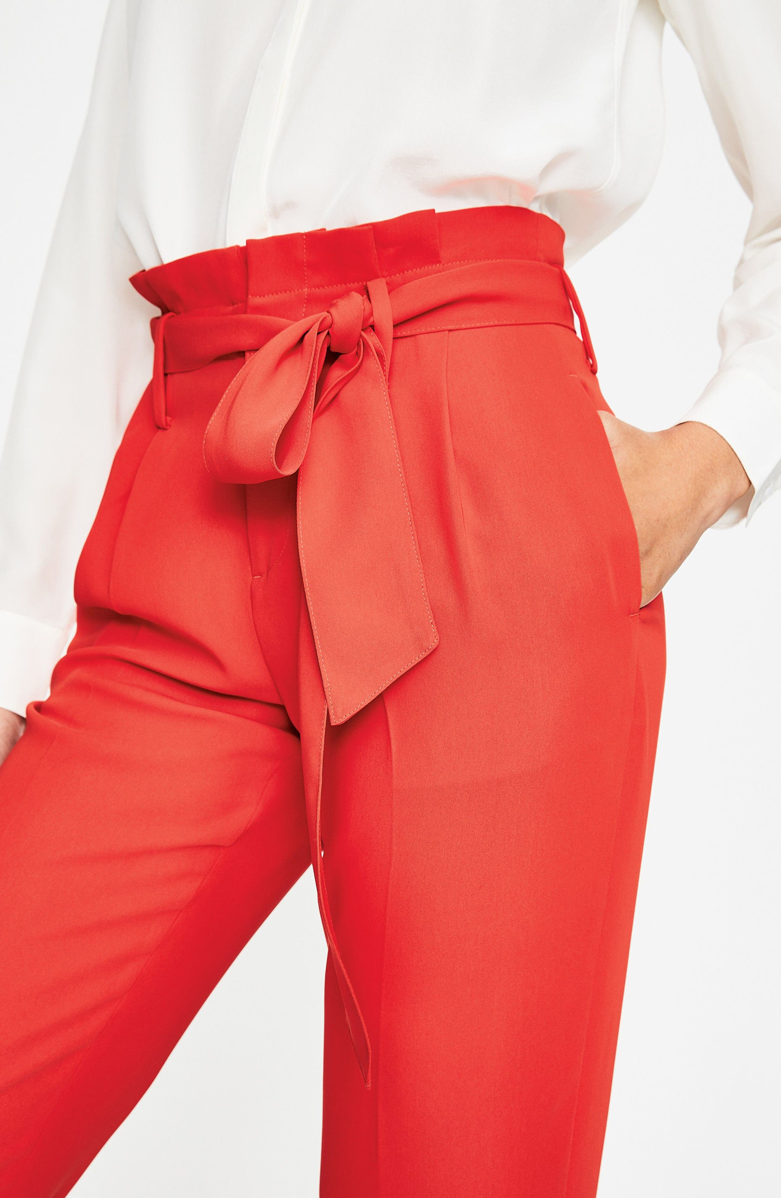 Paperbag Waist Crop Trousers,                             Alternate thumbnail 8, color,