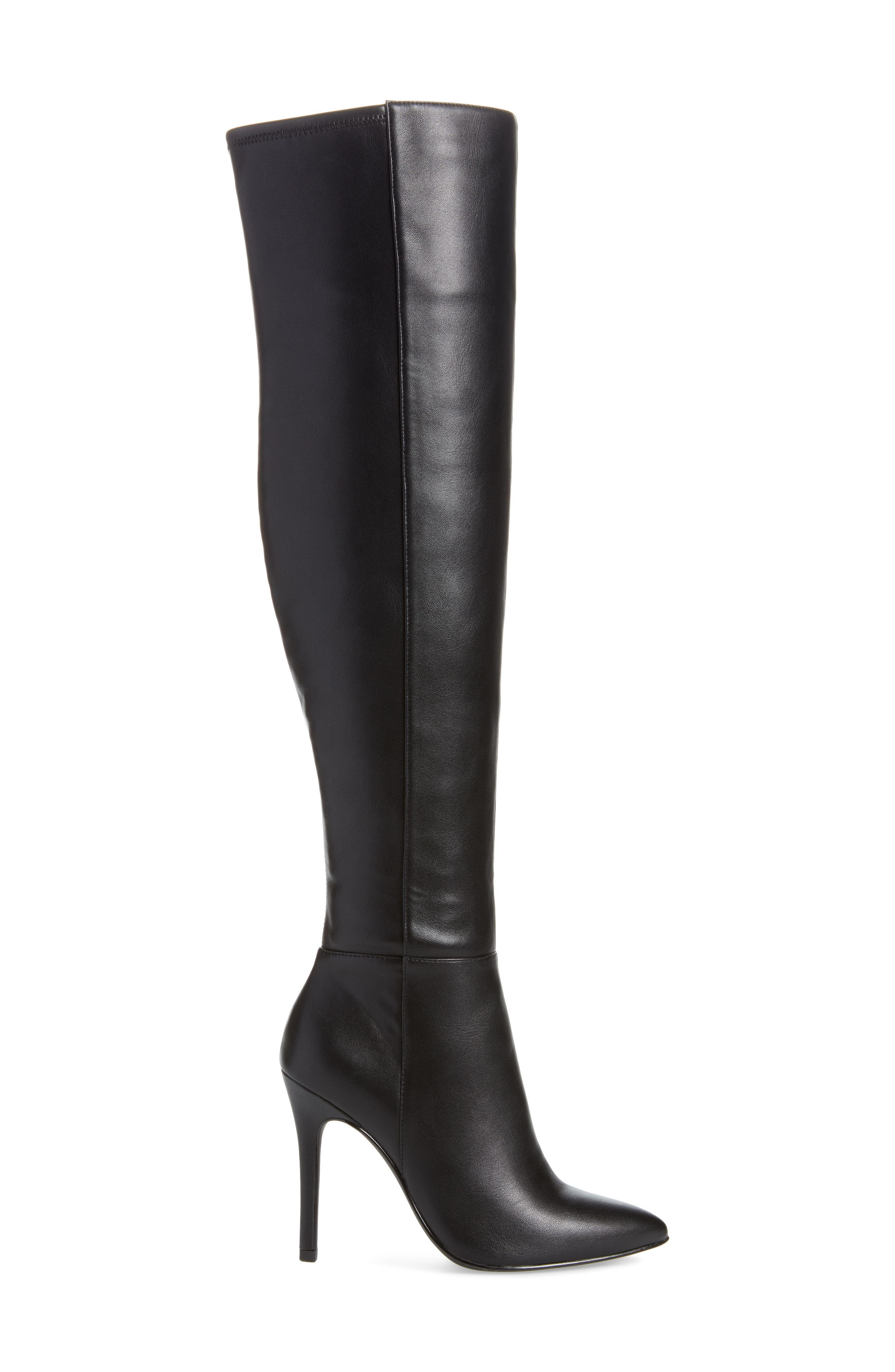 Debutante Thigh High Boot,                             Alternate thumbnail 3, color,                             BLACK FAUX LEATHER
