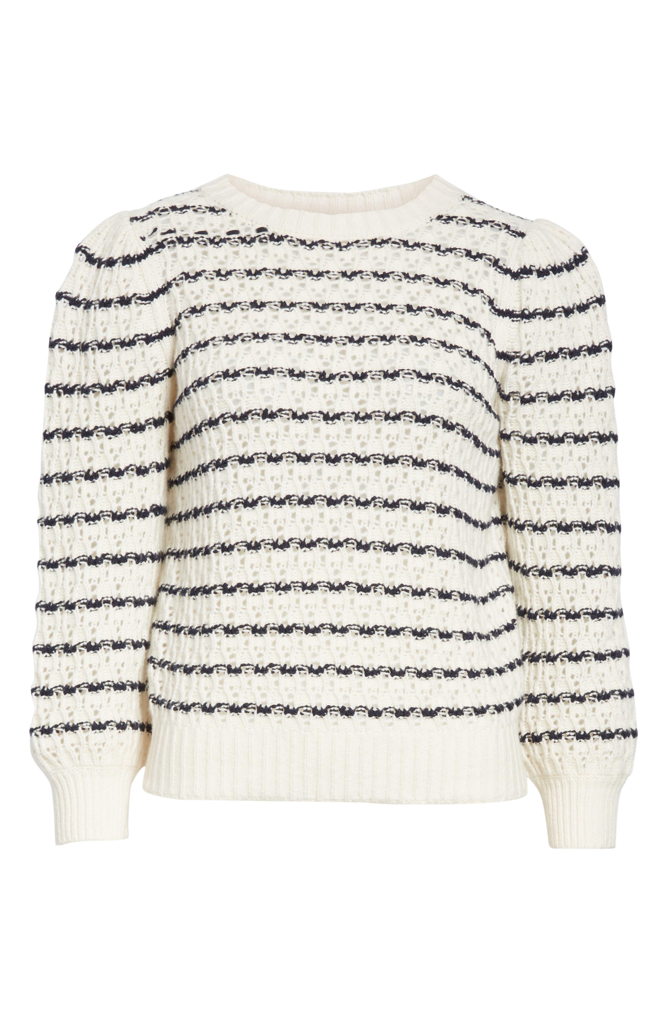 LA VIE REBECCA TAYLOR,                             Stripe Pointelle Sweater,                             Alternate thumbnail 6, color,                             ECRU/ MIDNIGHT NAVY