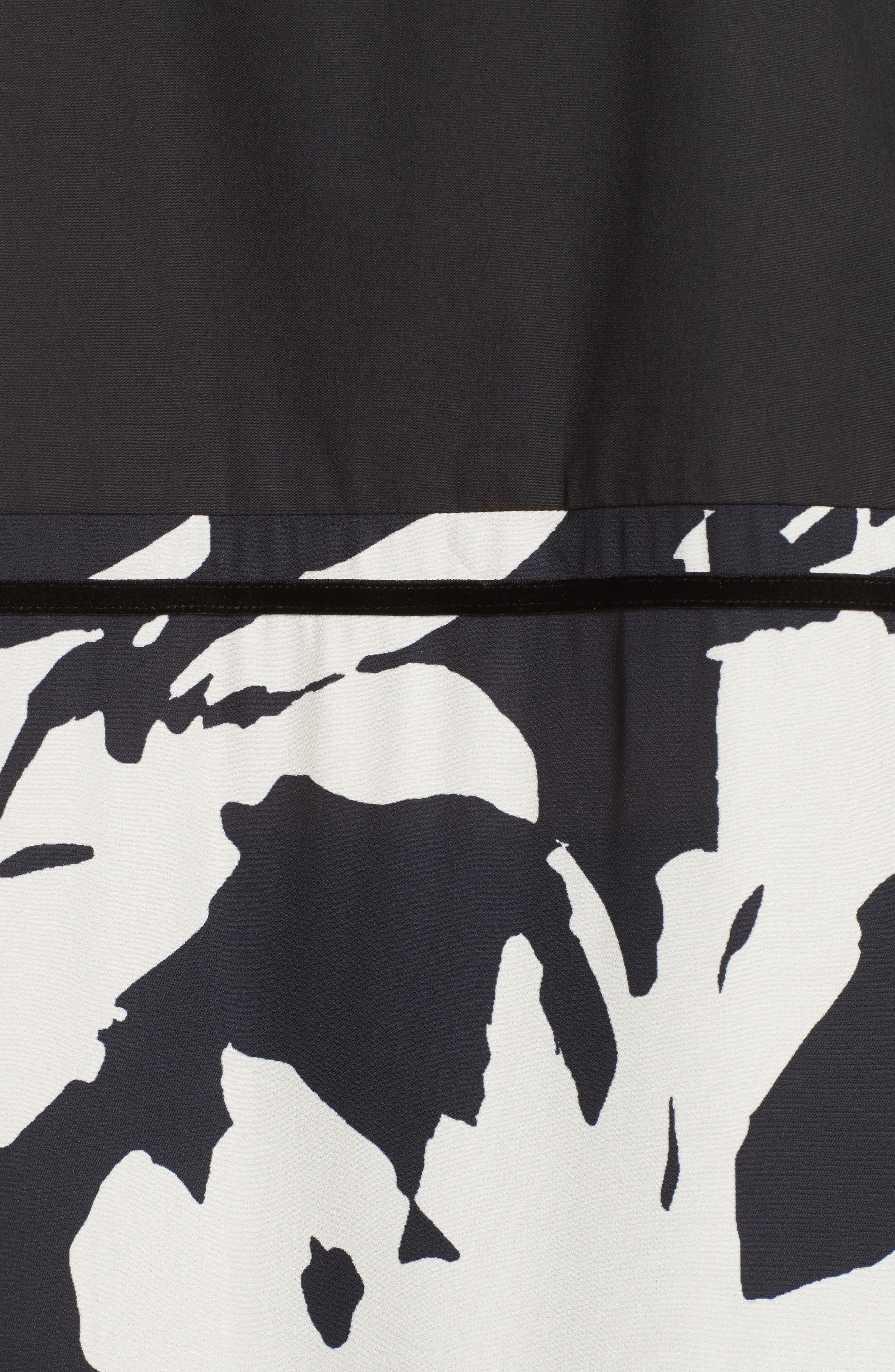Cotton Poplin & Print Crepe Tunic,                             Alternate thumbnail 5, color,                             001