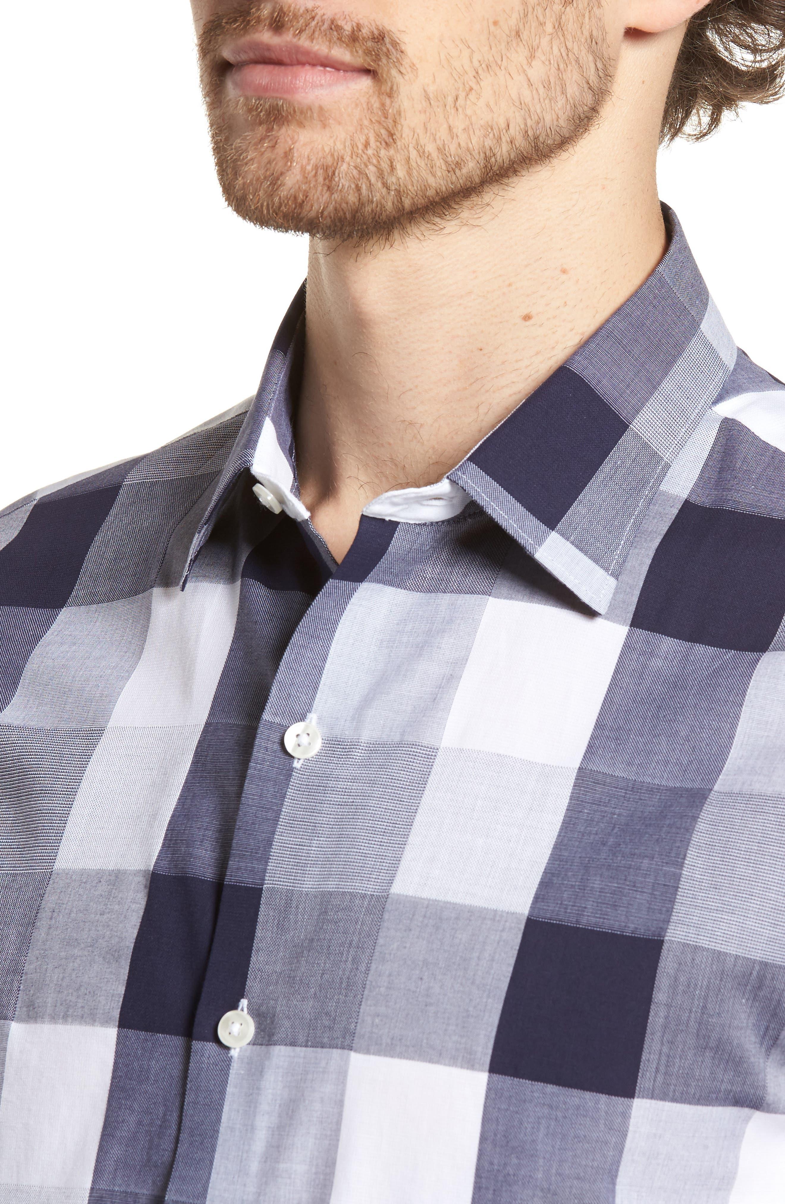 Unbutton Down 2.0 Slim Fit Buffalo Check Sport Shirt,                             Alternate thumbnail 4, color,                             400