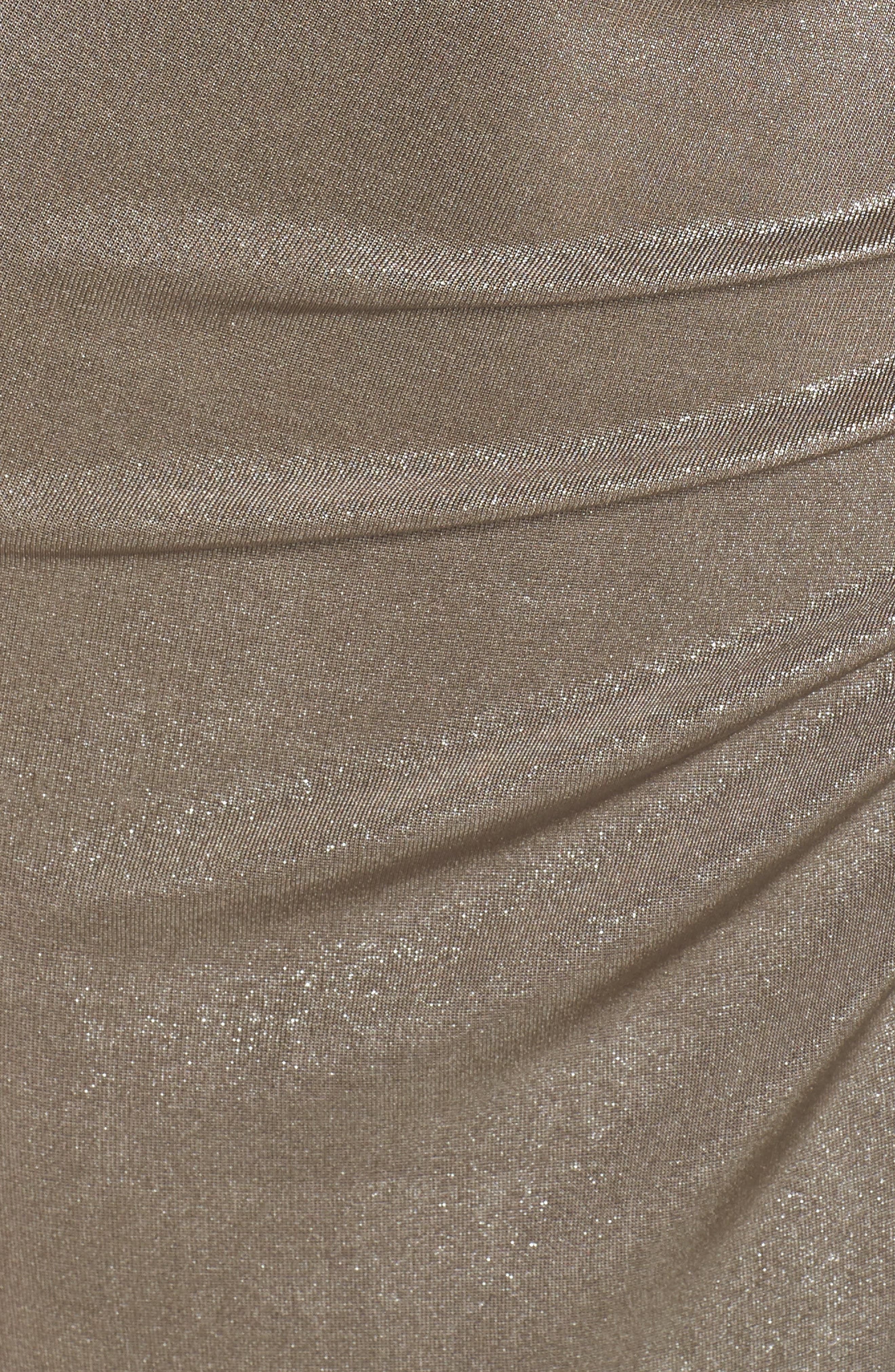 Ruched Metallic Jersey Gown,                             Alternate thumbnail 6, color,                             MINK