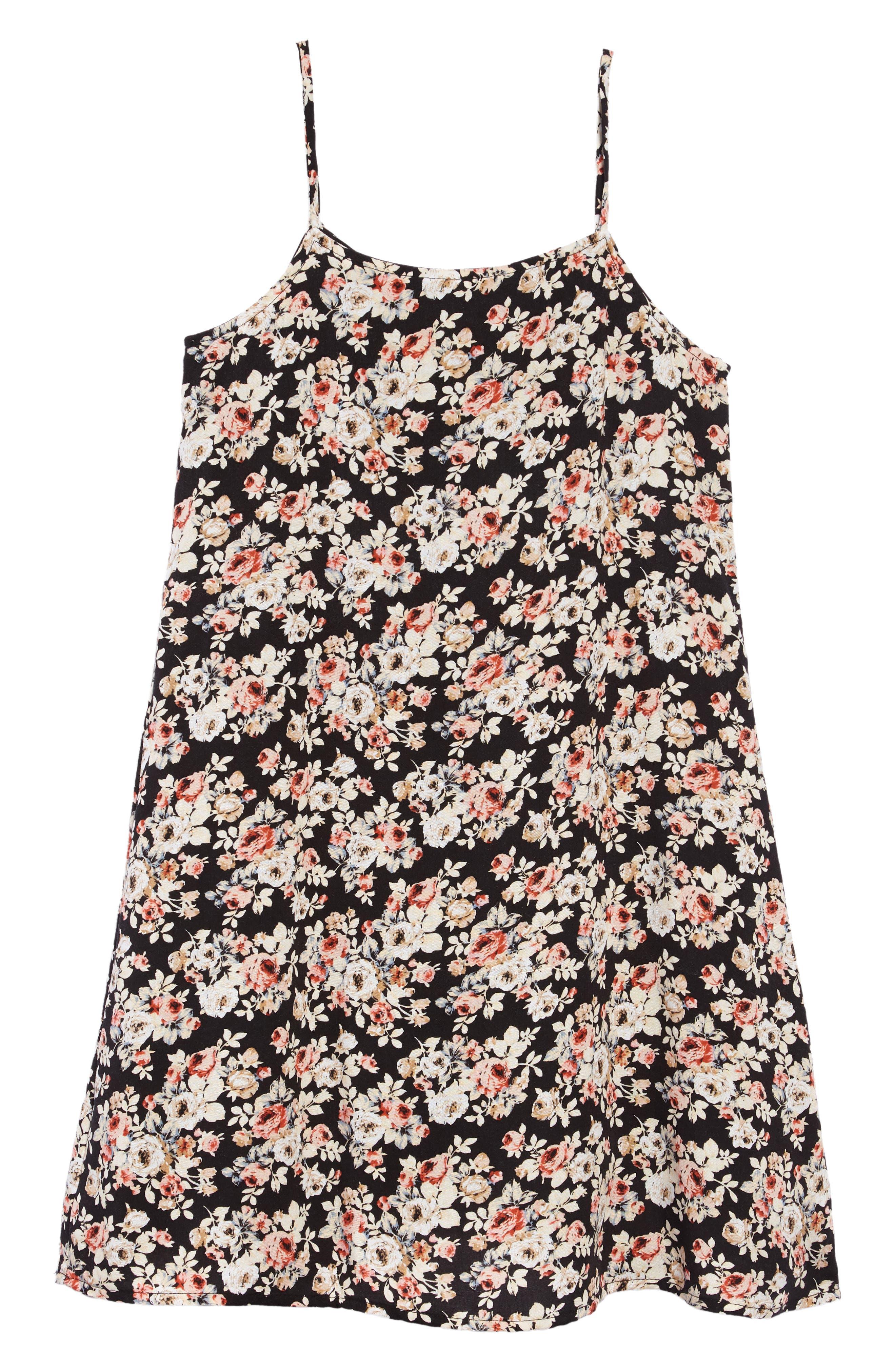 Floral Shift Dress,                             Alternate thumbnail 2, color,                             001