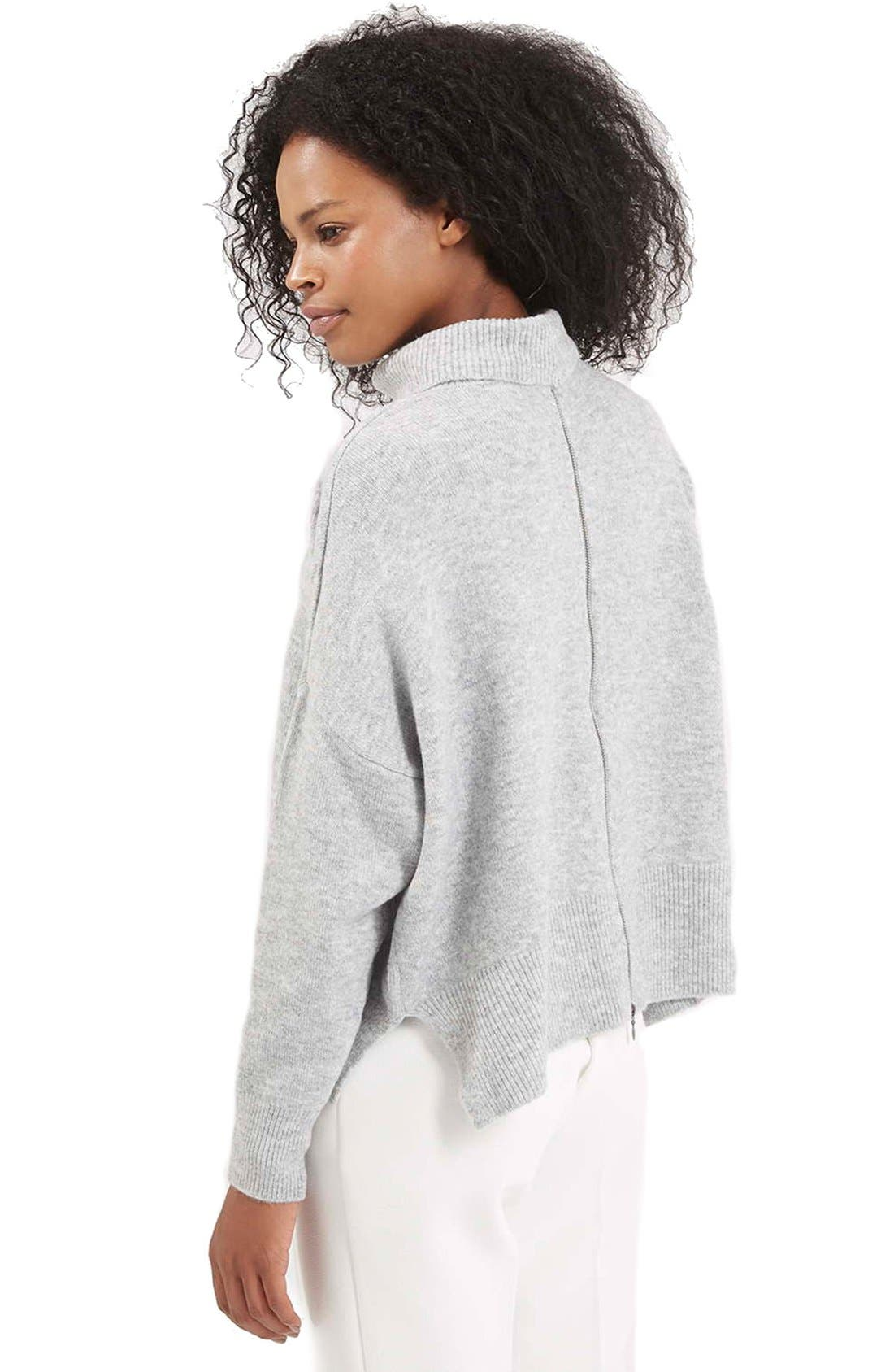 Back Zip Turtleneck Sweater,                             Alternate thumbnail 6, color,                             050