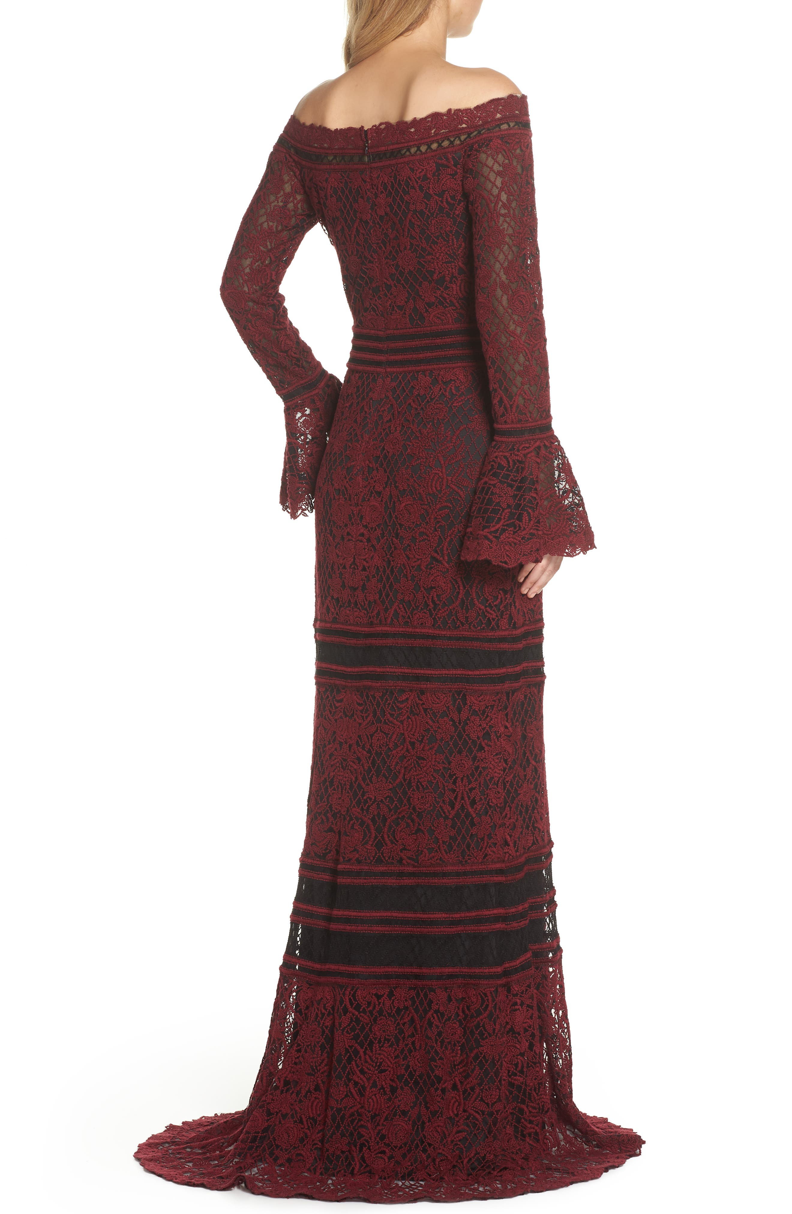 Bell Sleeve Embroidered Lace Gown,                             Alternate thumbnail 2, color,                             AUTUMN/ BLACK