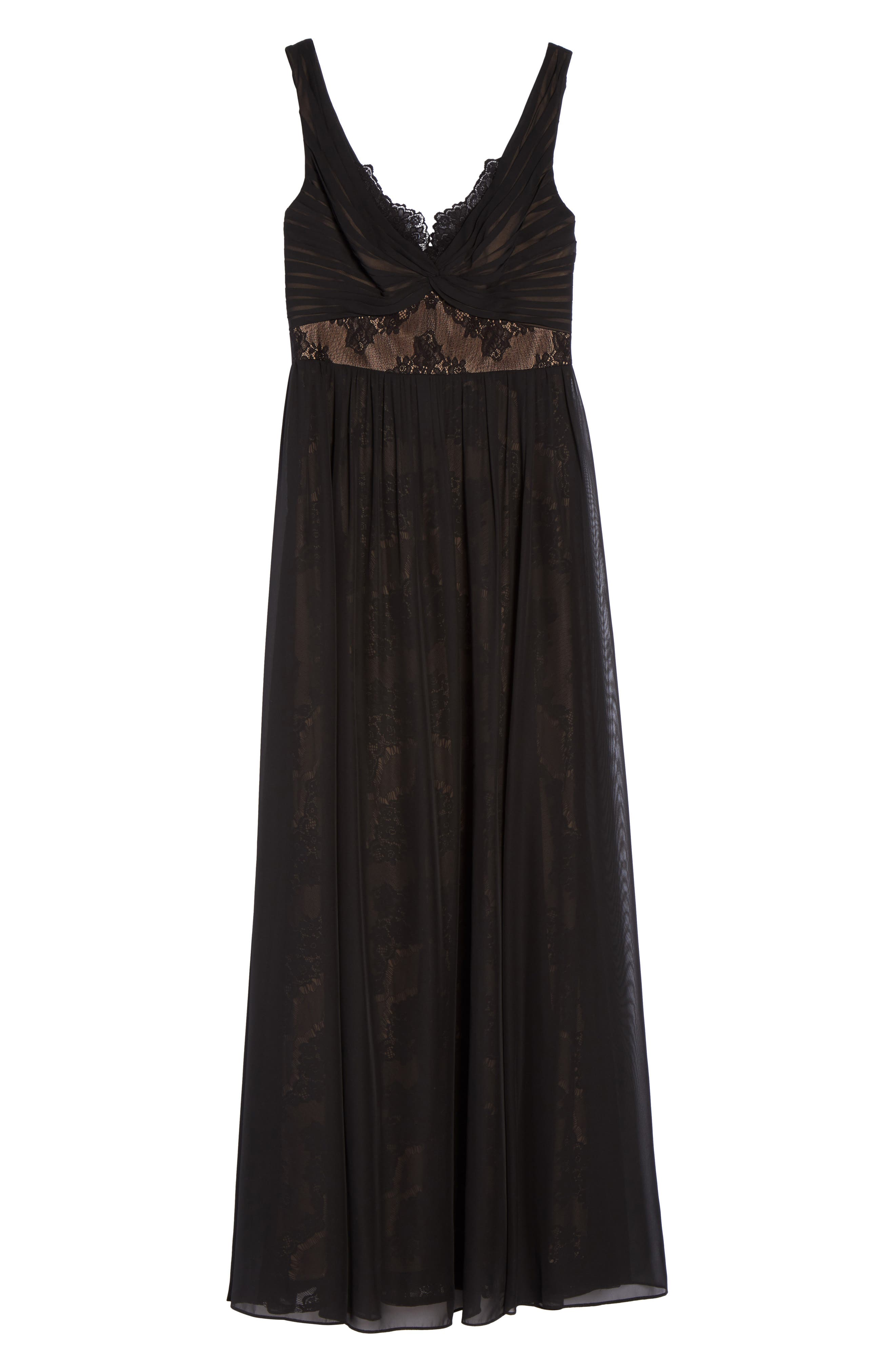 Lace Detail Gown,                             Alternate thumbnail 6, color,                             001