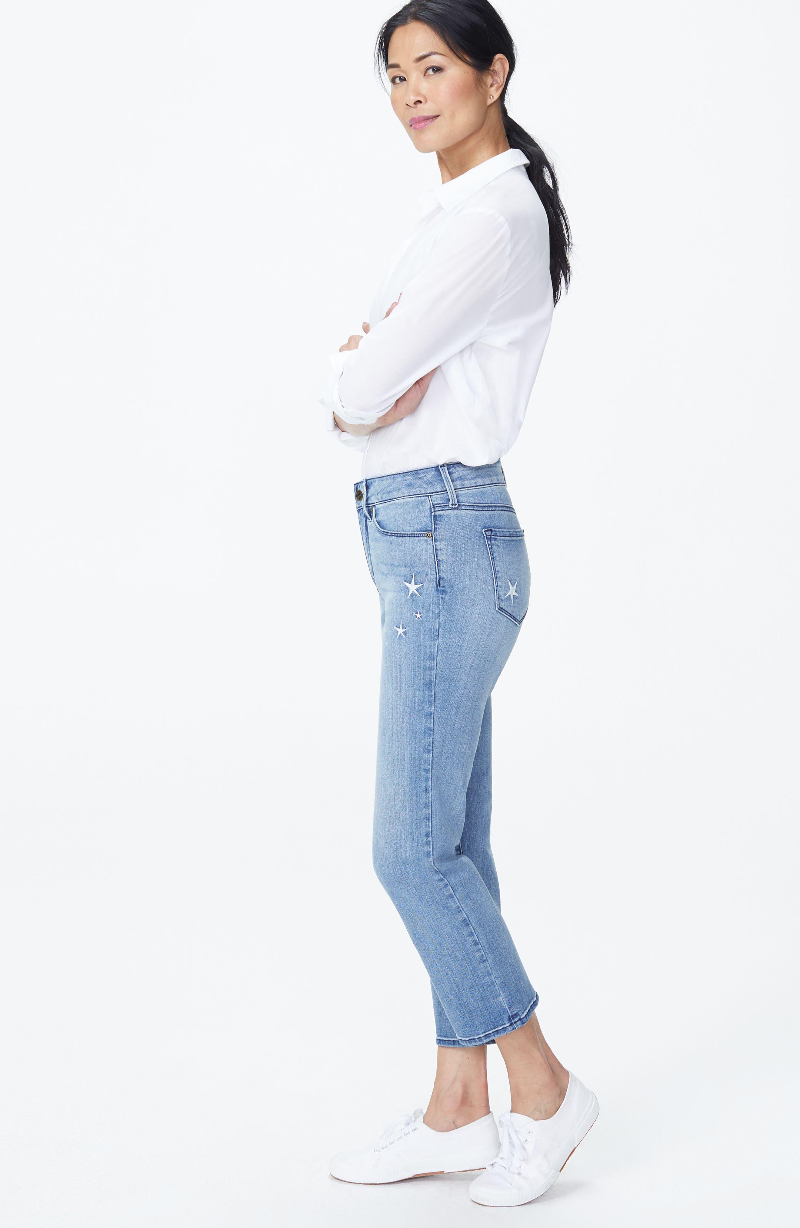 Marilyn High Waist Straight Leg Star Ankle Jeans,                             Alternate thumbnail 4, color,                             POINT DUME