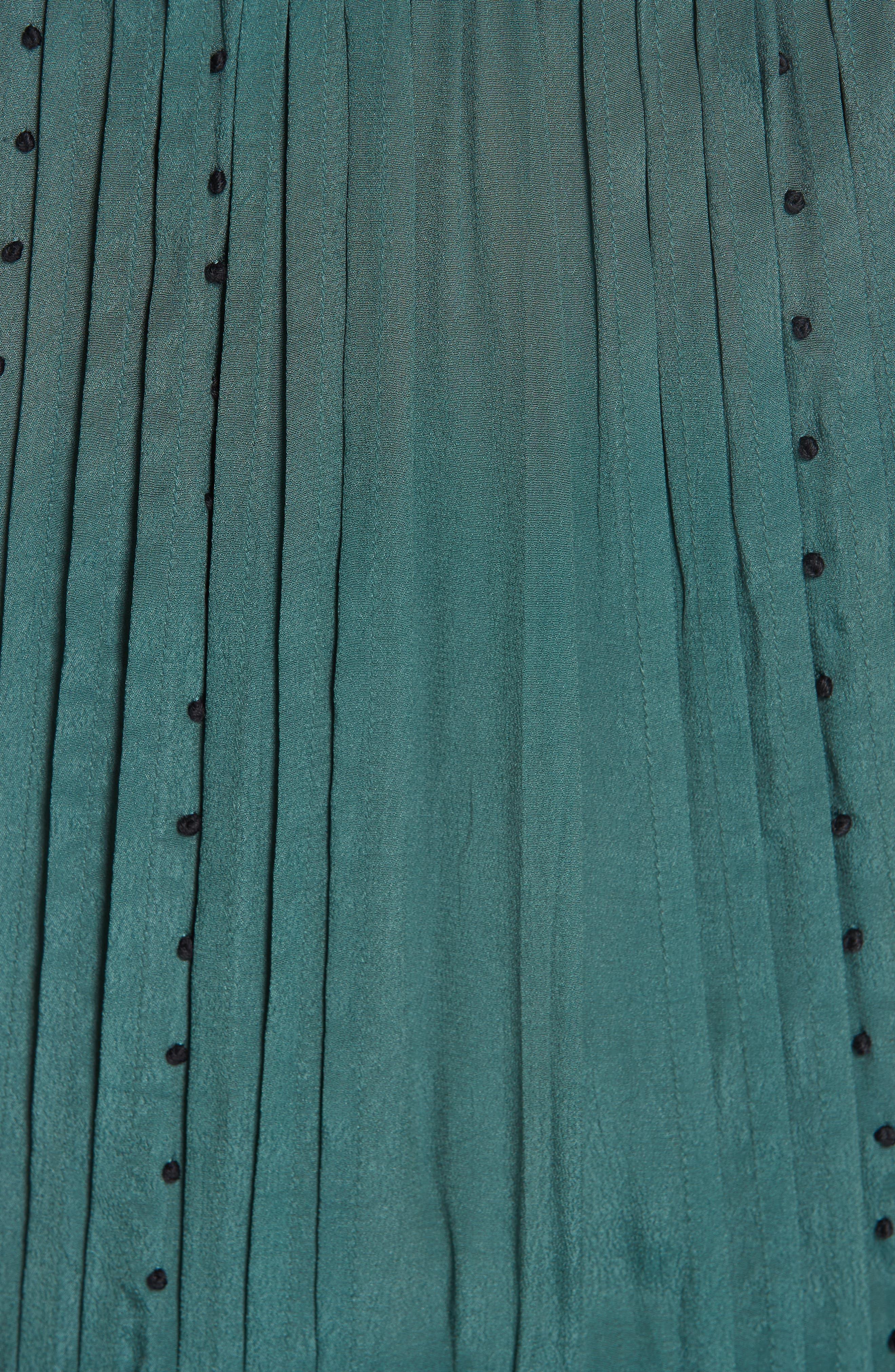 Azzedine Flutter Sleeve Smocked Midi Dress,                             Alternate thumbnail 5, color,                             FOREST