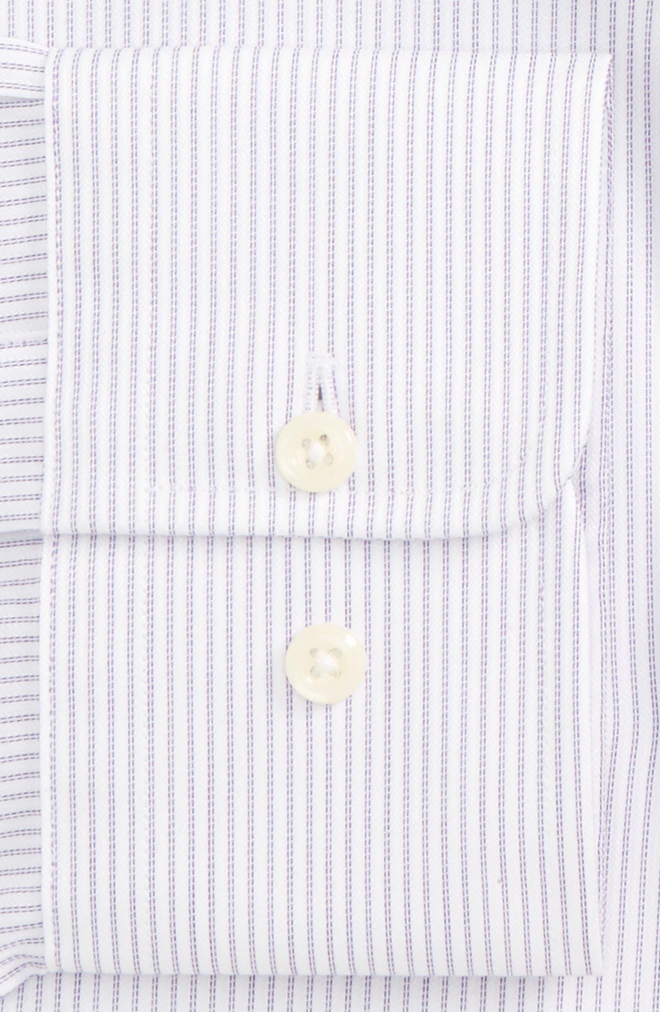 Regular Fit Stripe Dress Shirt,                             Alternate thumbnail 4, color,