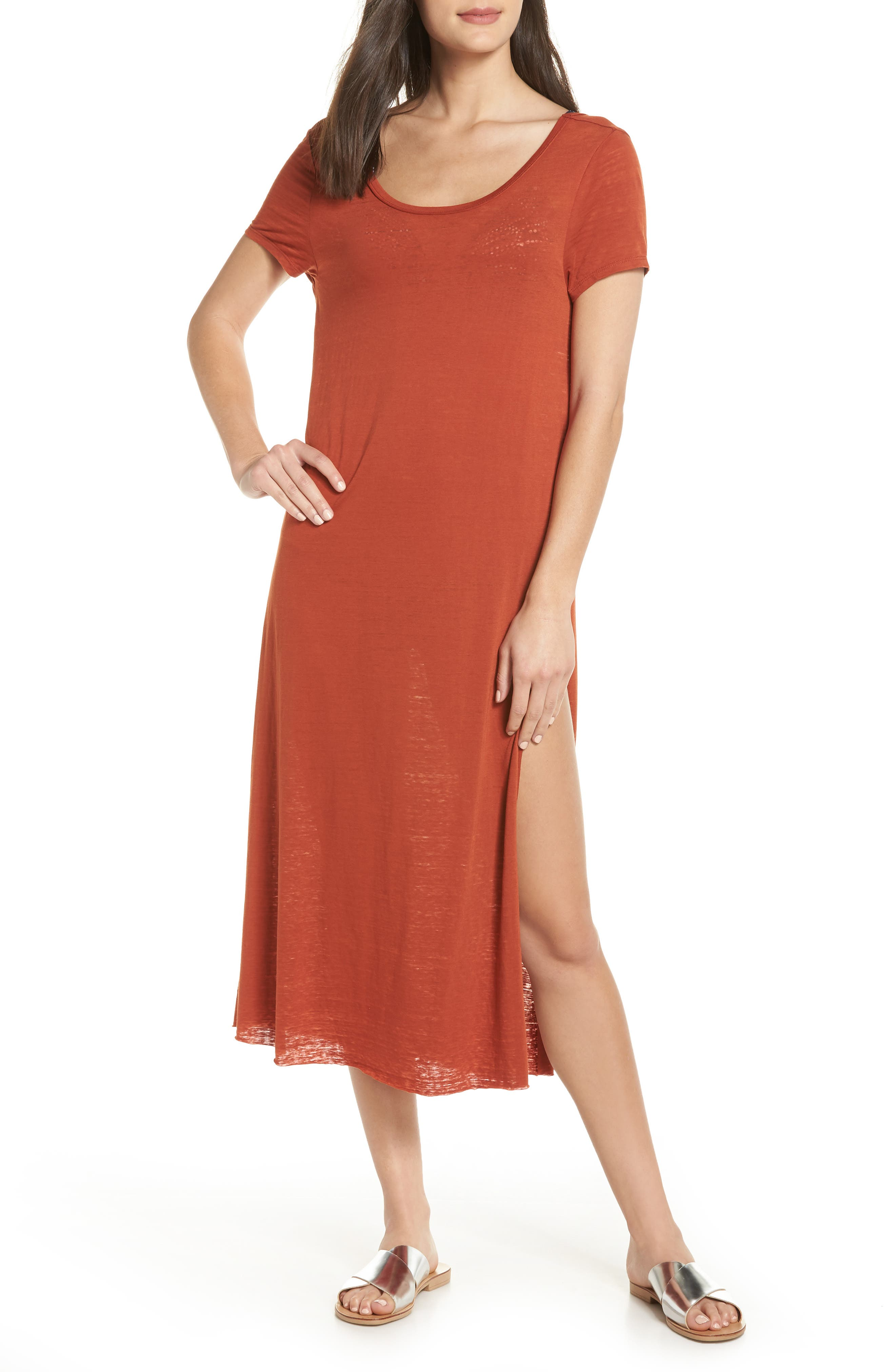Easy Tee Burnout Cover-Up Dress,                             Main thumbnail 1, color,                             RUST PICANTE