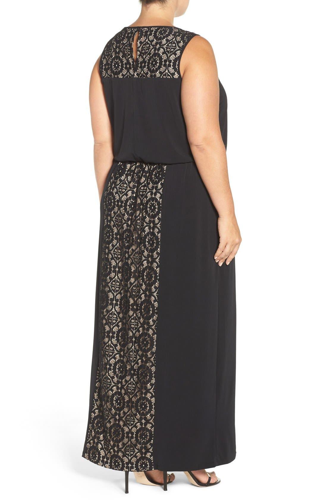 Lace Panel Gown,                             Alternate thumbnail 2, color,                             002