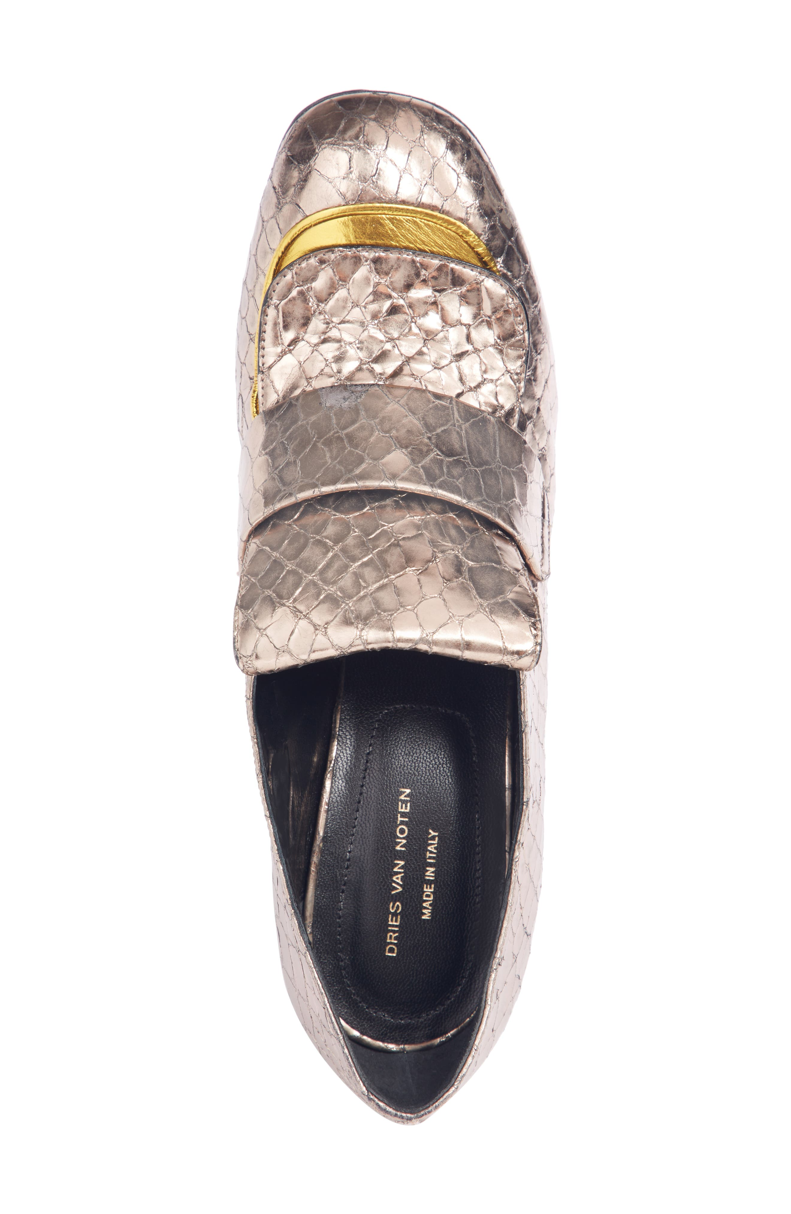 Reptile Loafer Pump,                             Alternate thumbnail 4, color,                             SILVER