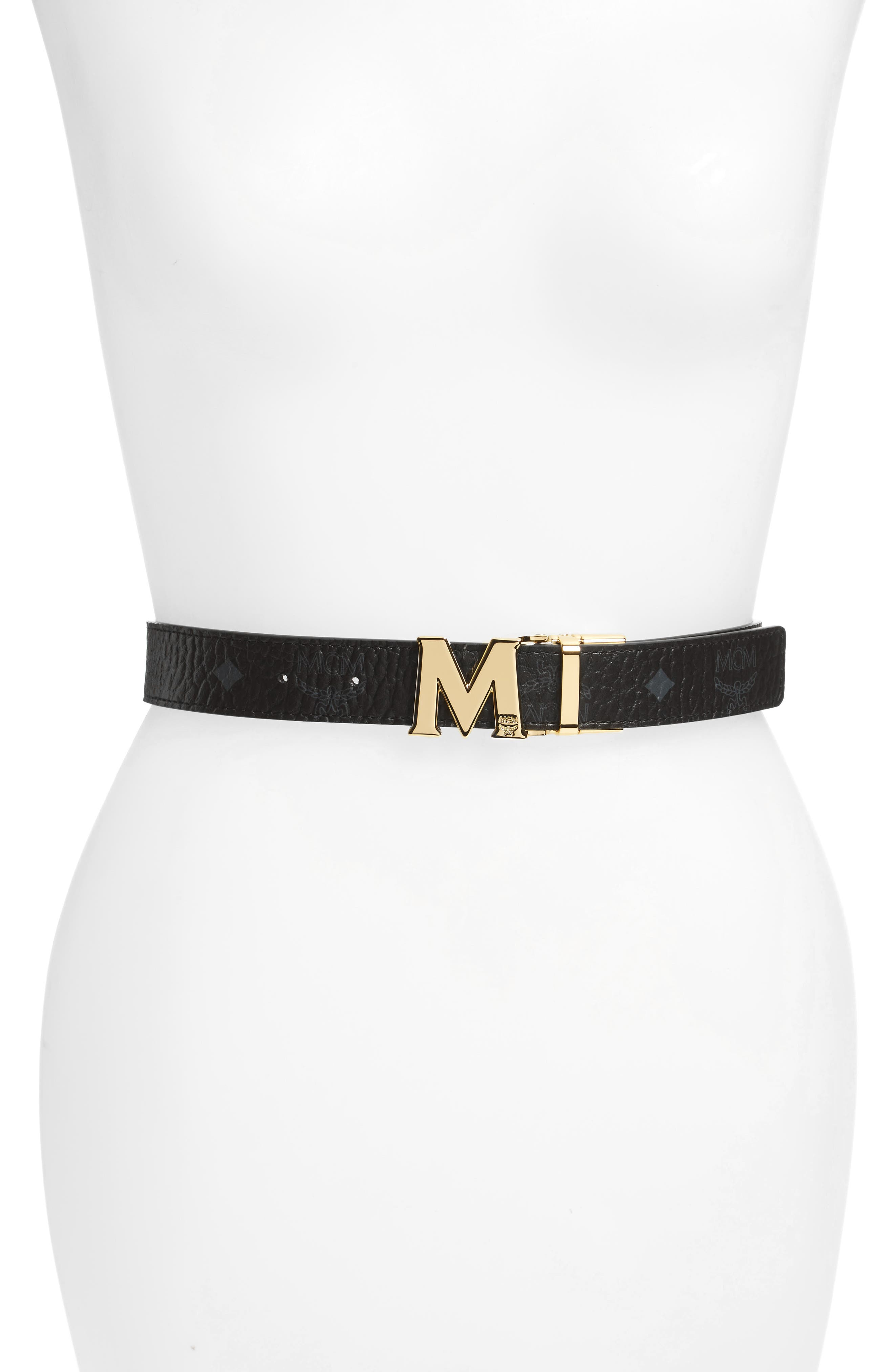 MCM Visetos Reversible Leather Belt, Main, color, BLACK / BLACK (W/ GOLD)