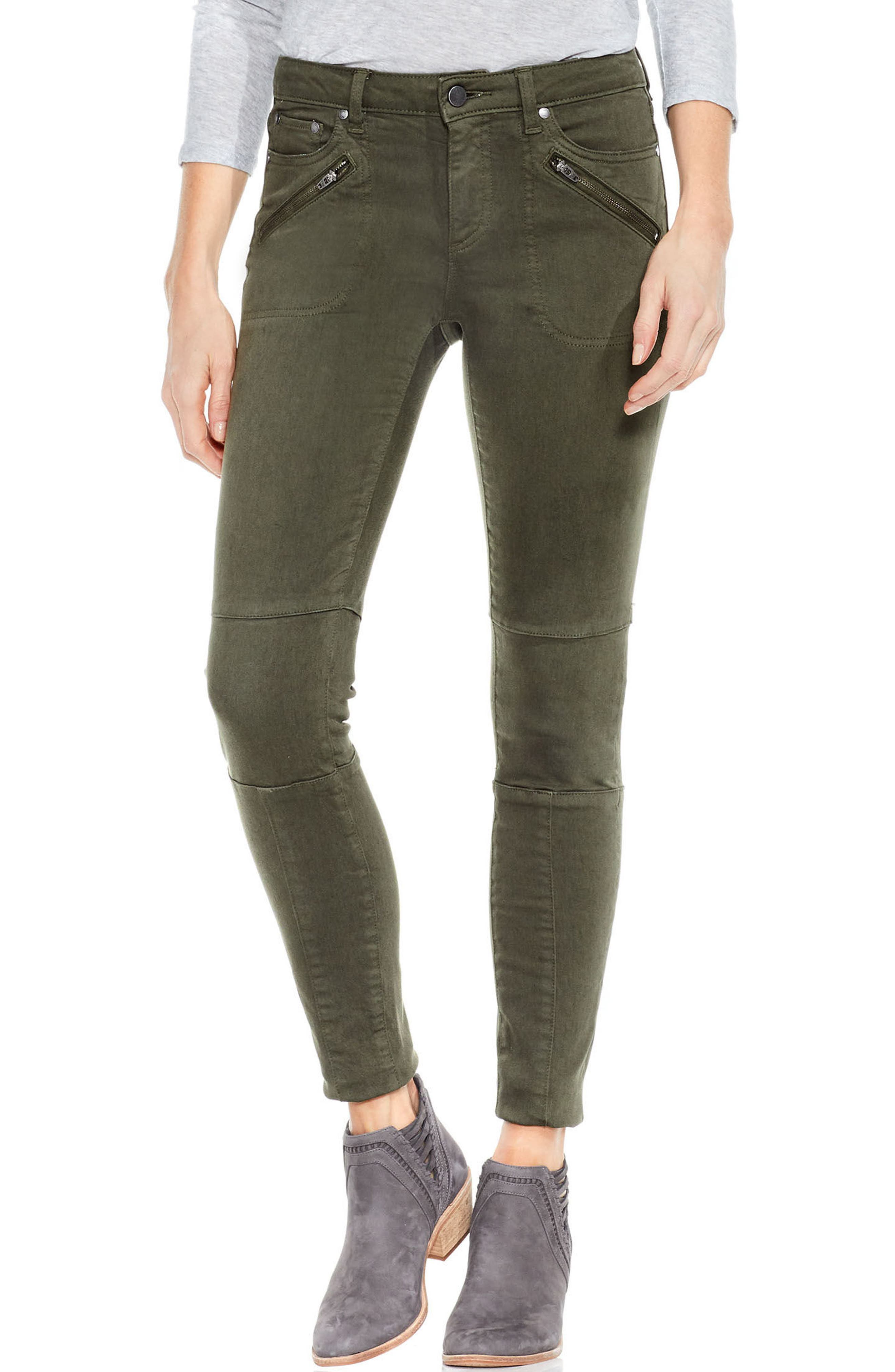 D-Luxe Moto Skinny Jeans In Army Green in Military Green