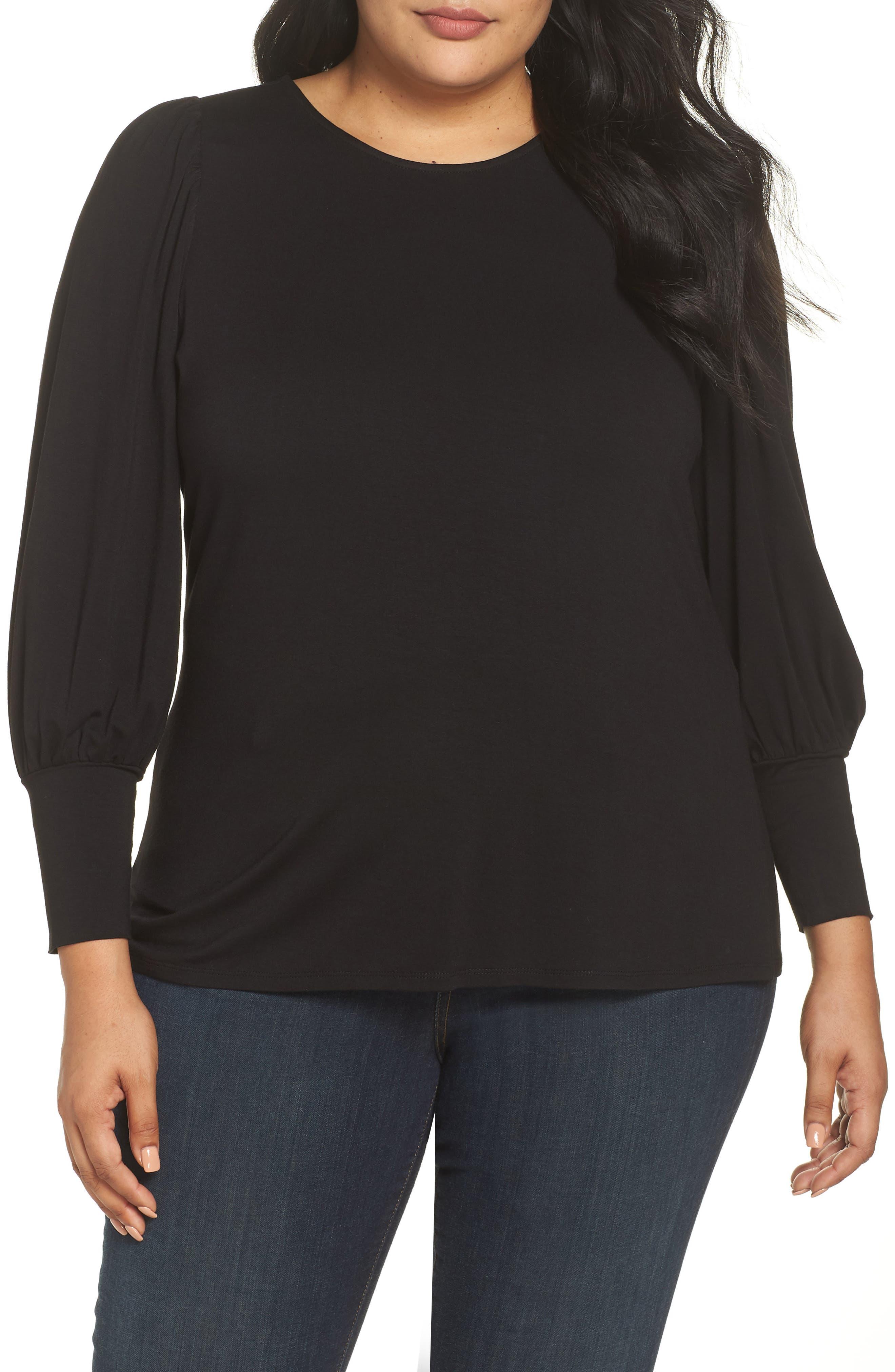 Bubble Sleeve Top,                         Main,                         color, RICH BLACK