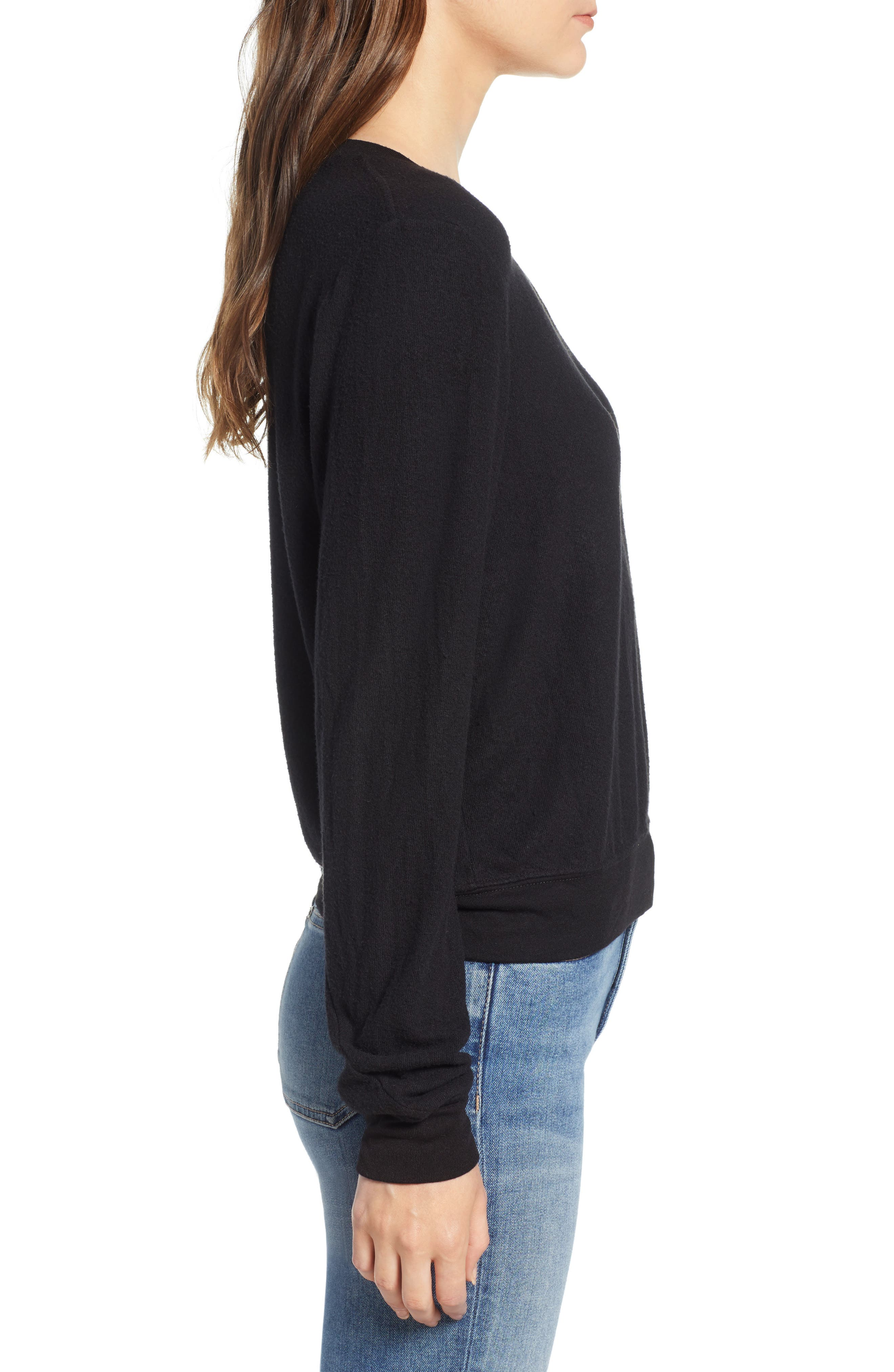 V-Neck Pullover,                             Alternate thumbnail 3, color,                             JET BLACK