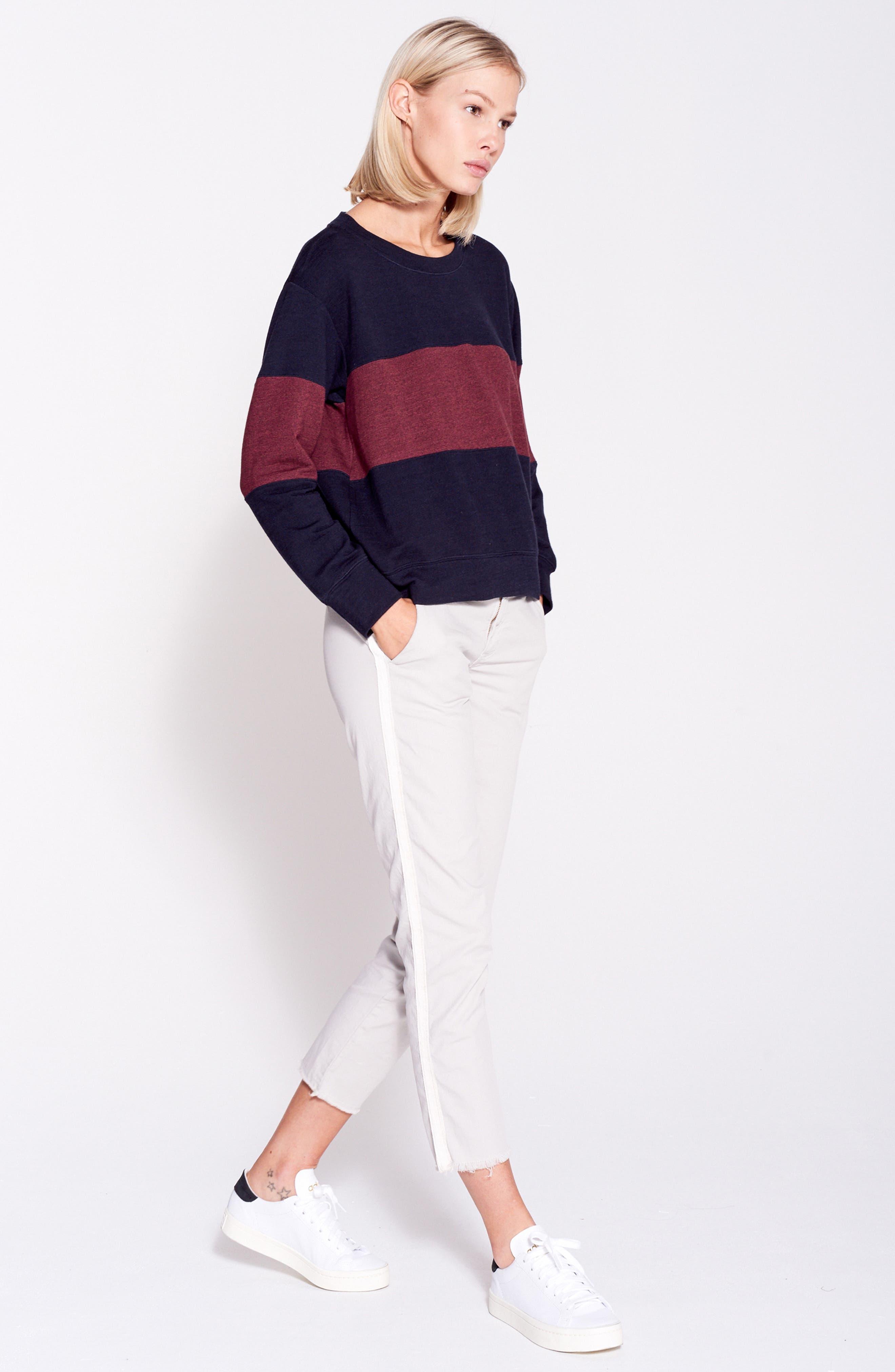 Colorblock Crop Sweatshirt,                             Alternate thumbnail 7, color,                             MIDNIGHT/ MARSALA
