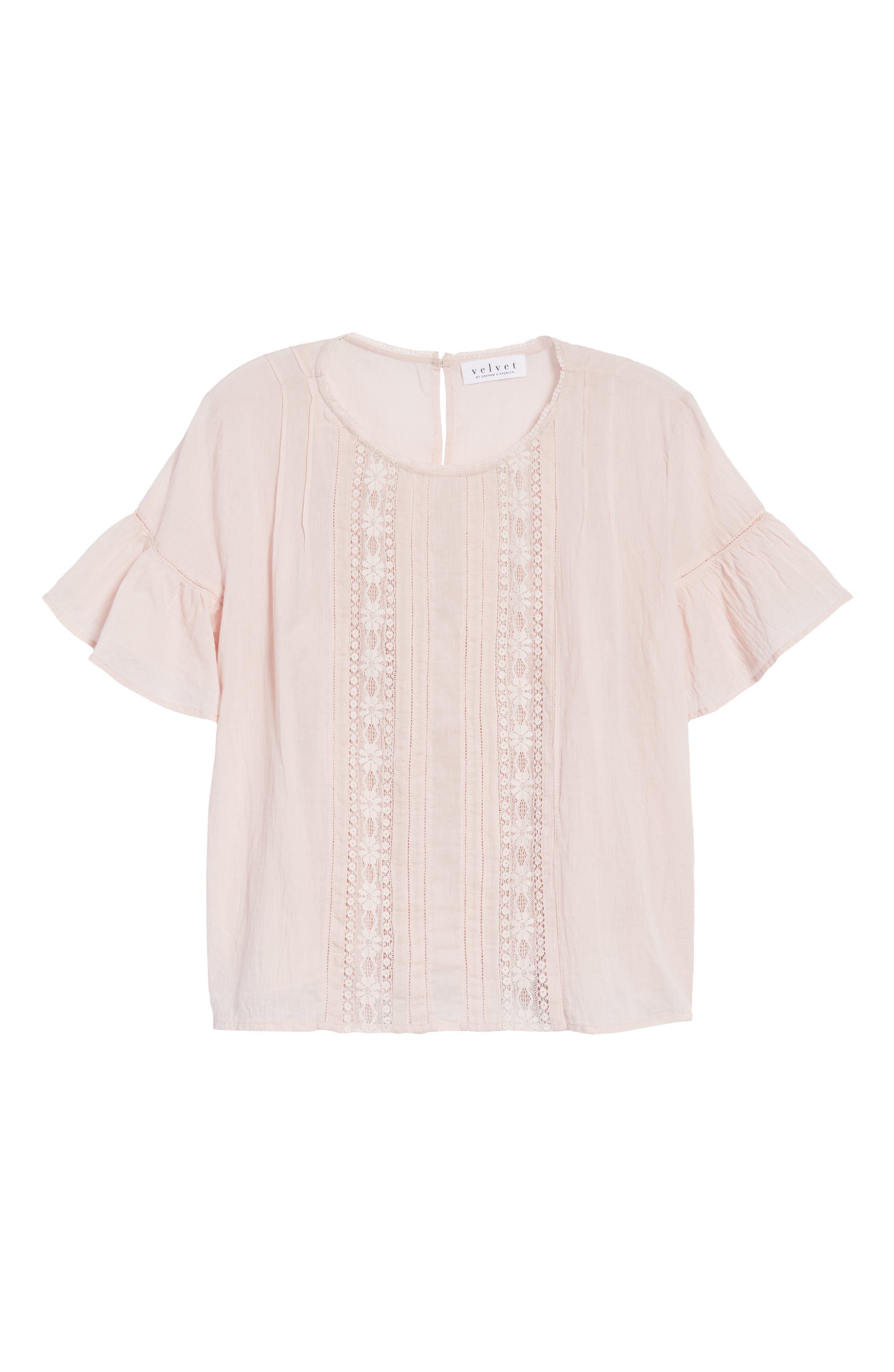 Cotton Lace Blouse,                             Alternate thumbnail 7, color,                             PALE PINK