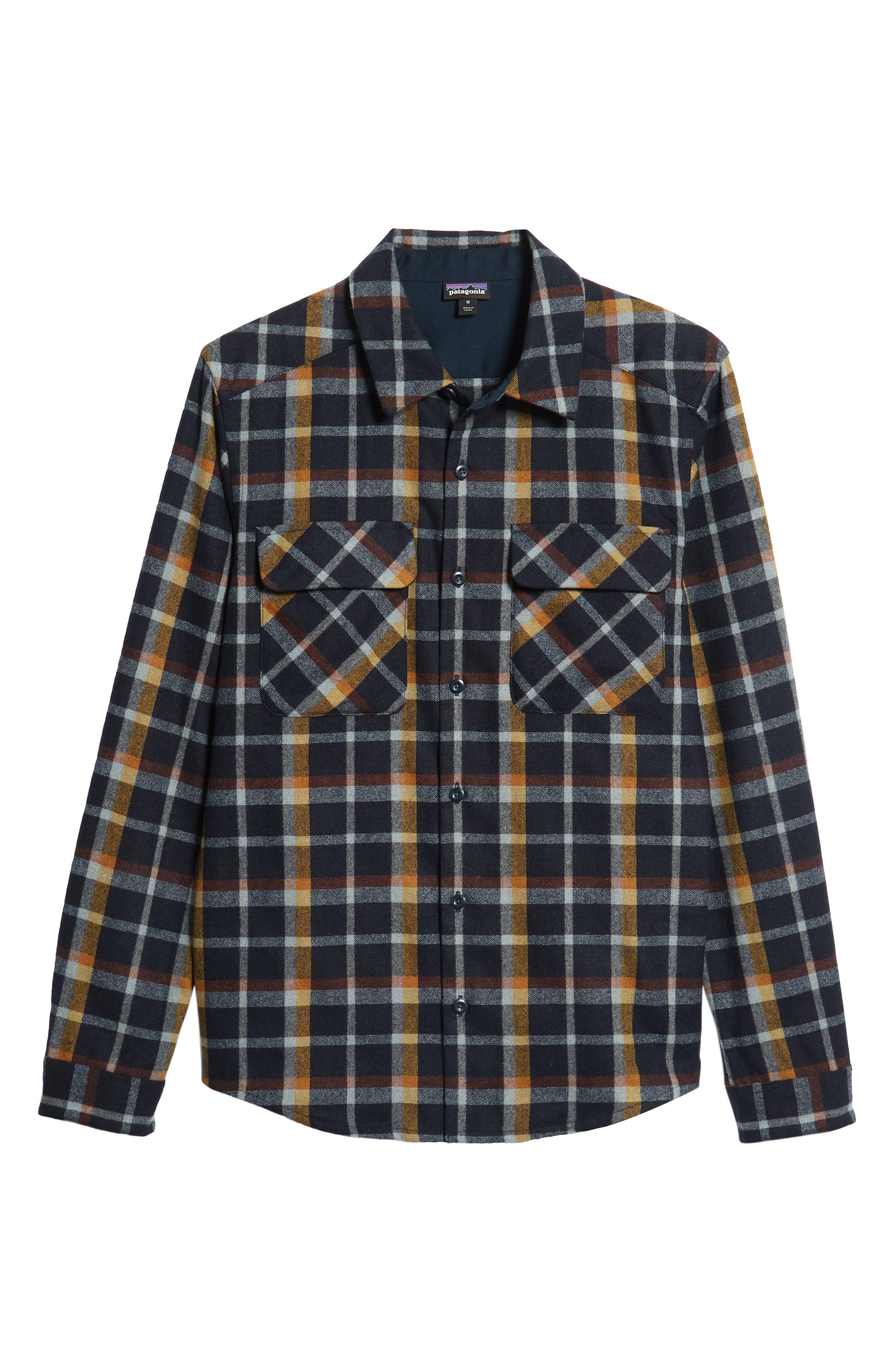 Recycled Wool Blend Shirt,                             Alternate thumbnail 5, color,                             REBEL PLAID/ NAVY BLUE
