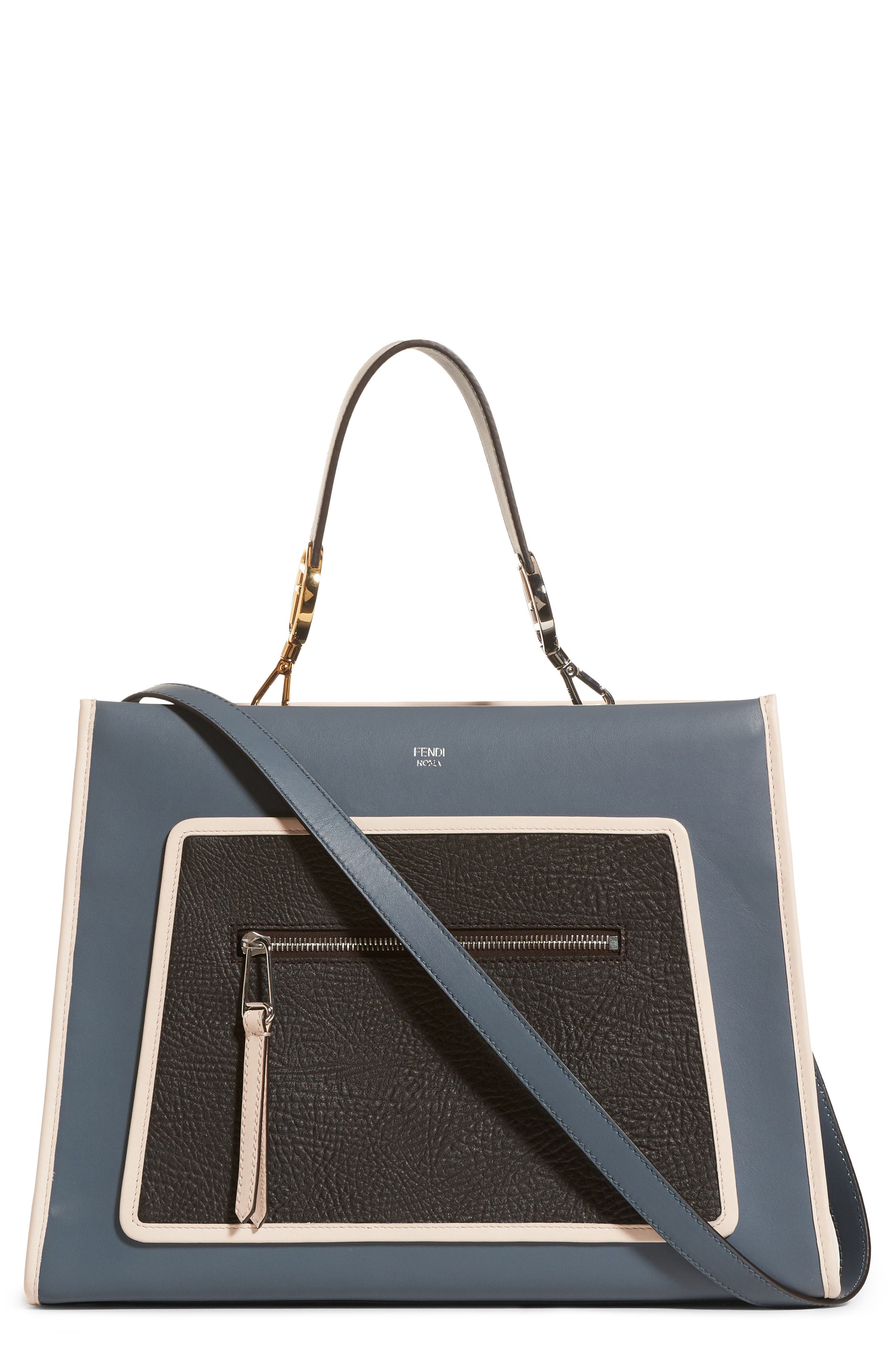 Runaway Leather Tote,                         Main,                         color, 400